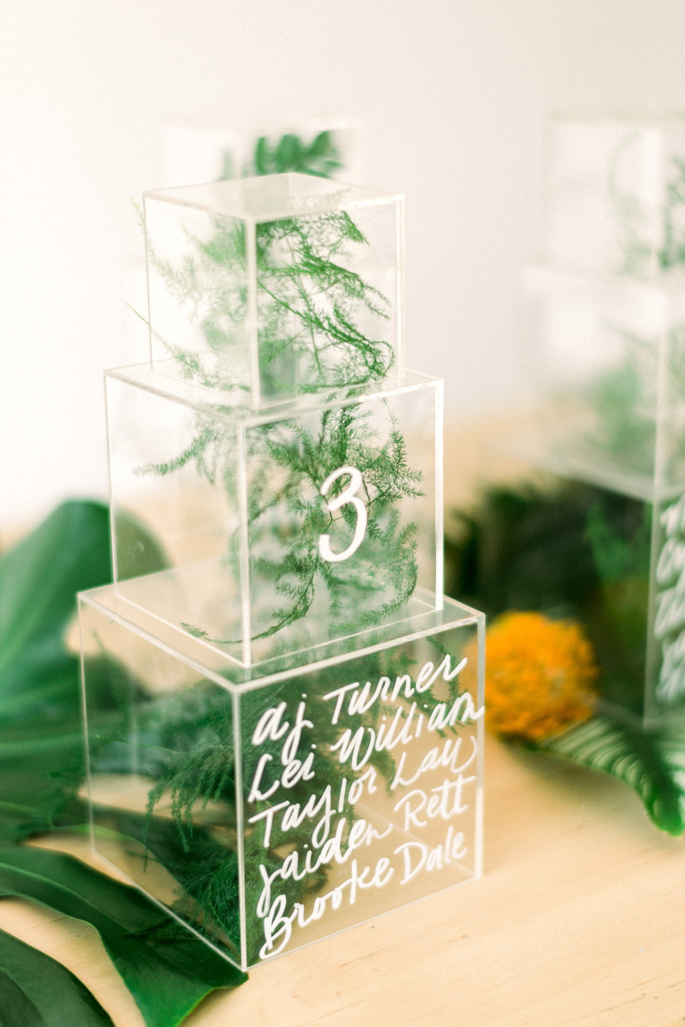 lucite box towers containing greenery seating chart display