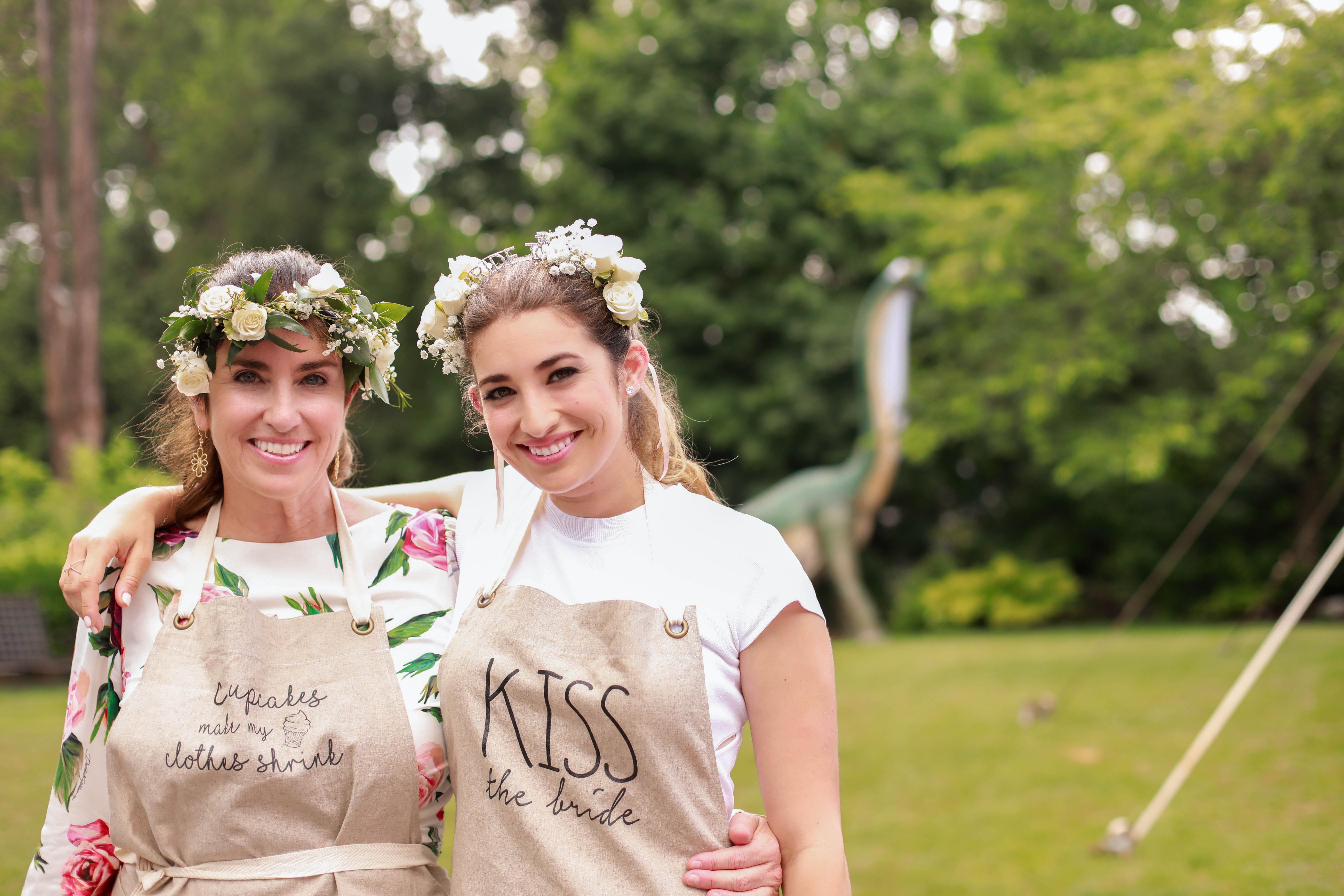 bridal shower mother bride outdoors apron flower crowns