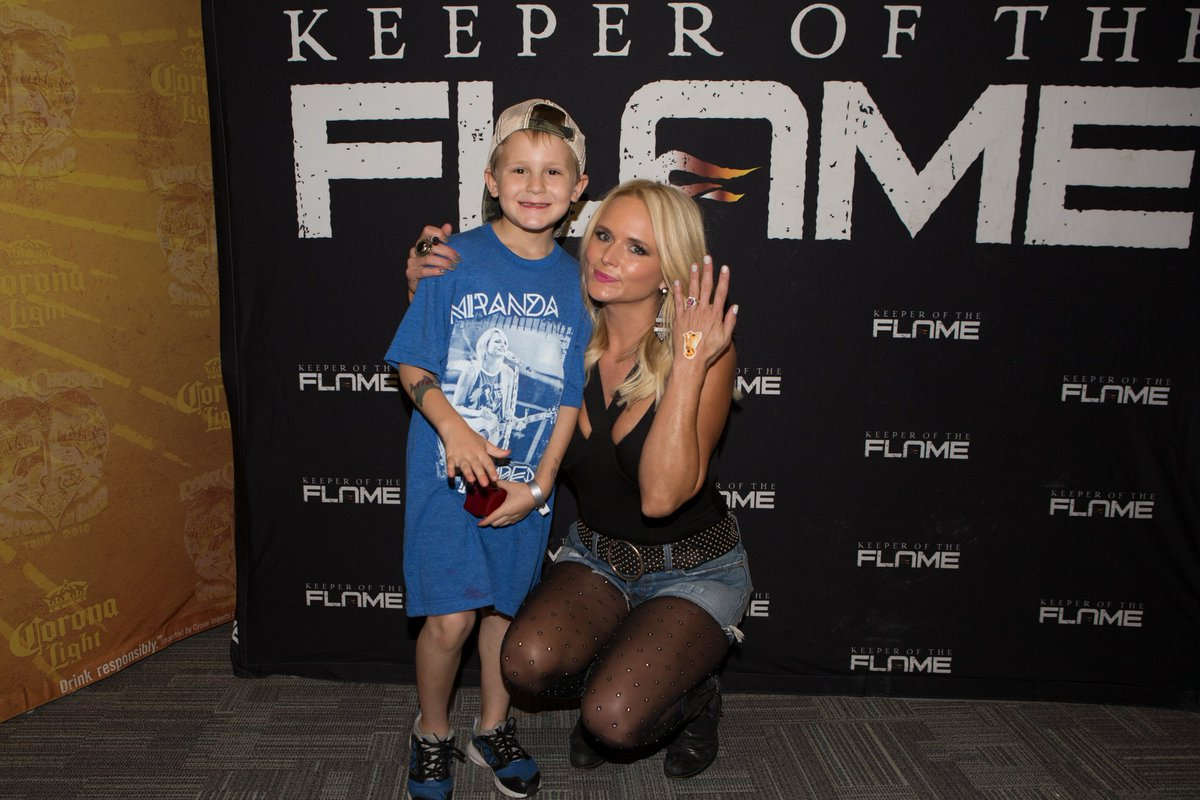 Miranda Lambert with the 6-year-old fan who proposed to her at a concert meet and greet.