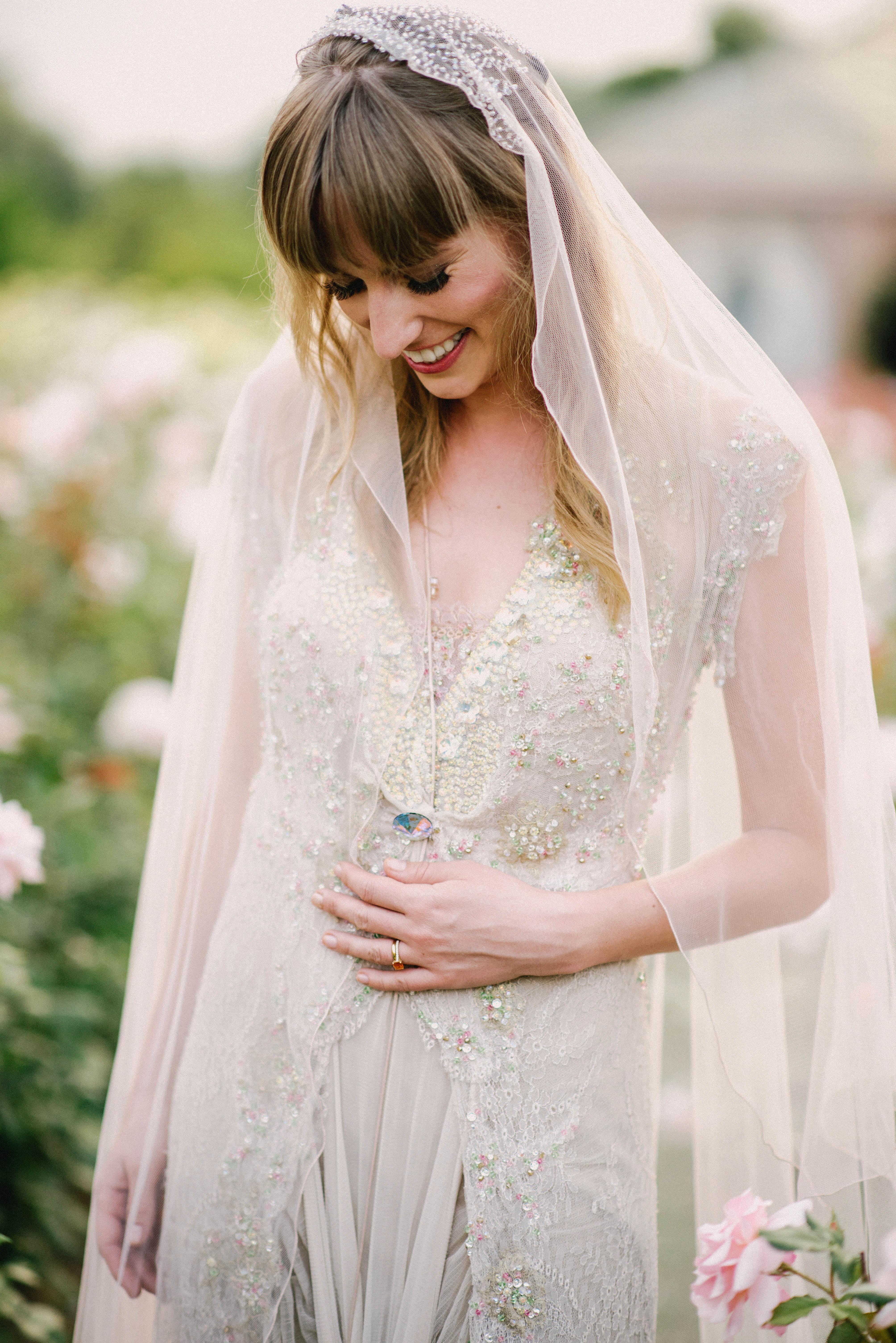 bride in sparkling wedding dress