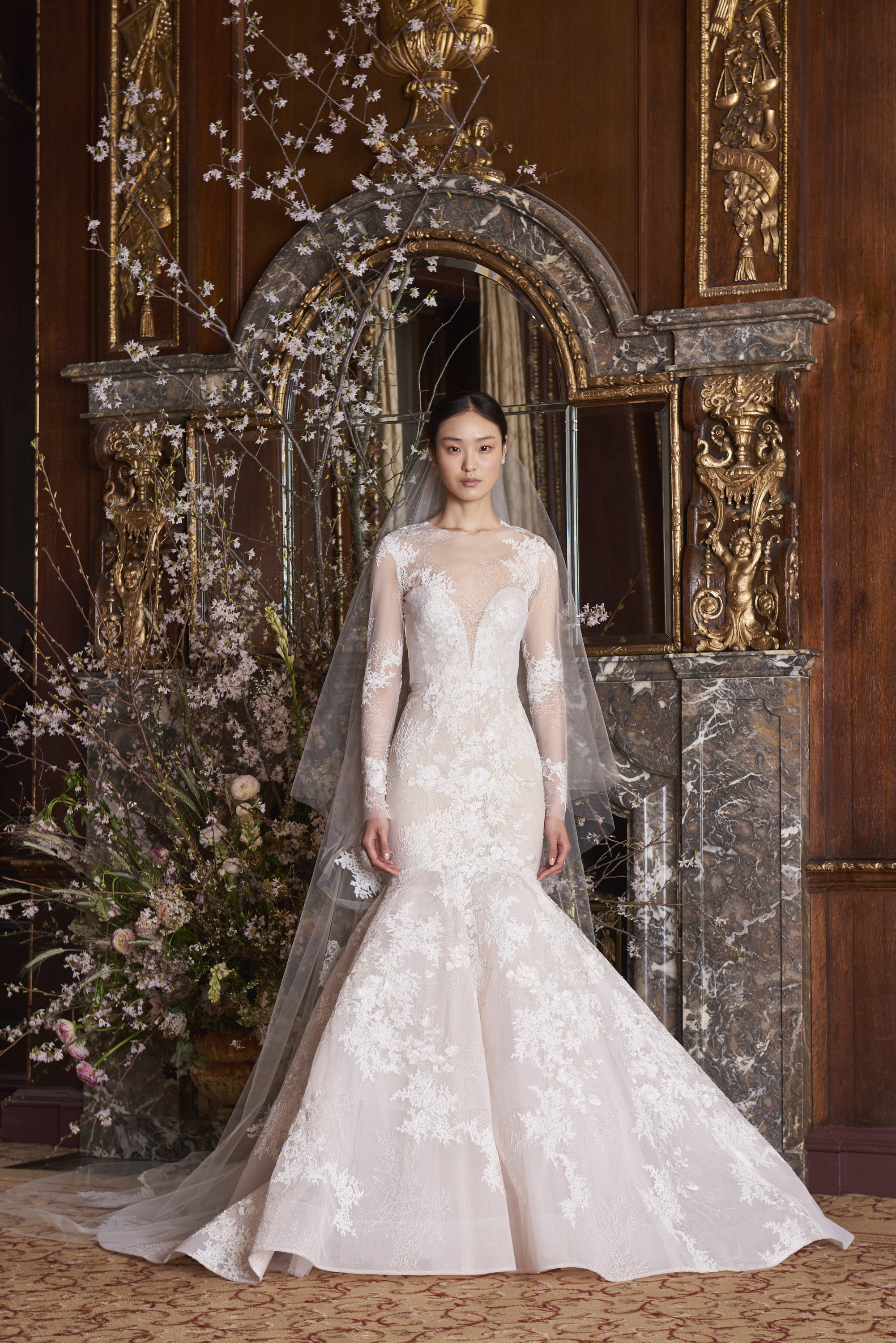 monique lhuillier wedding dress spring 2019 trumpet illusion lace
