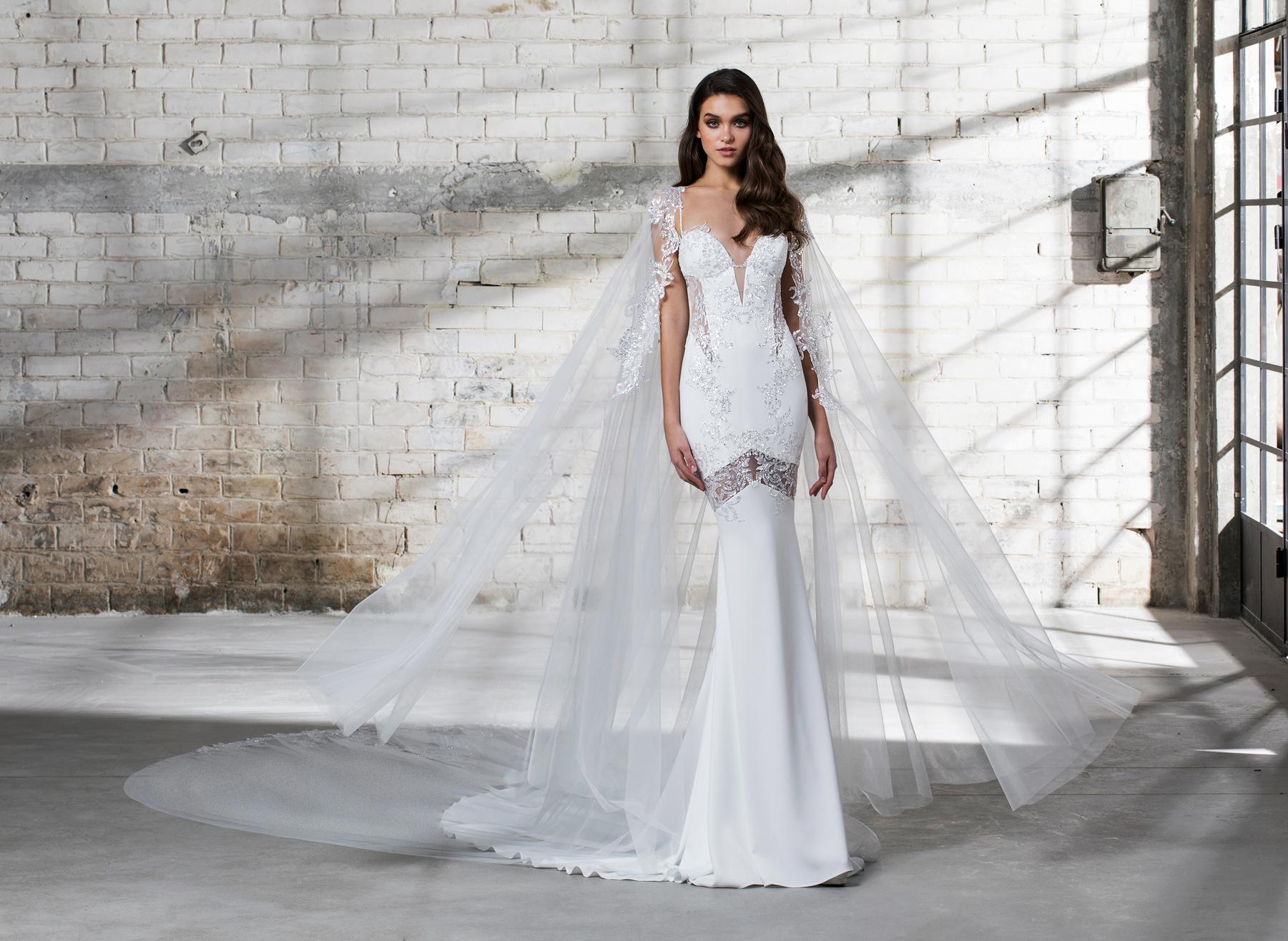 pnina tornai wedding dress spring 2019 trumpet cape deep v