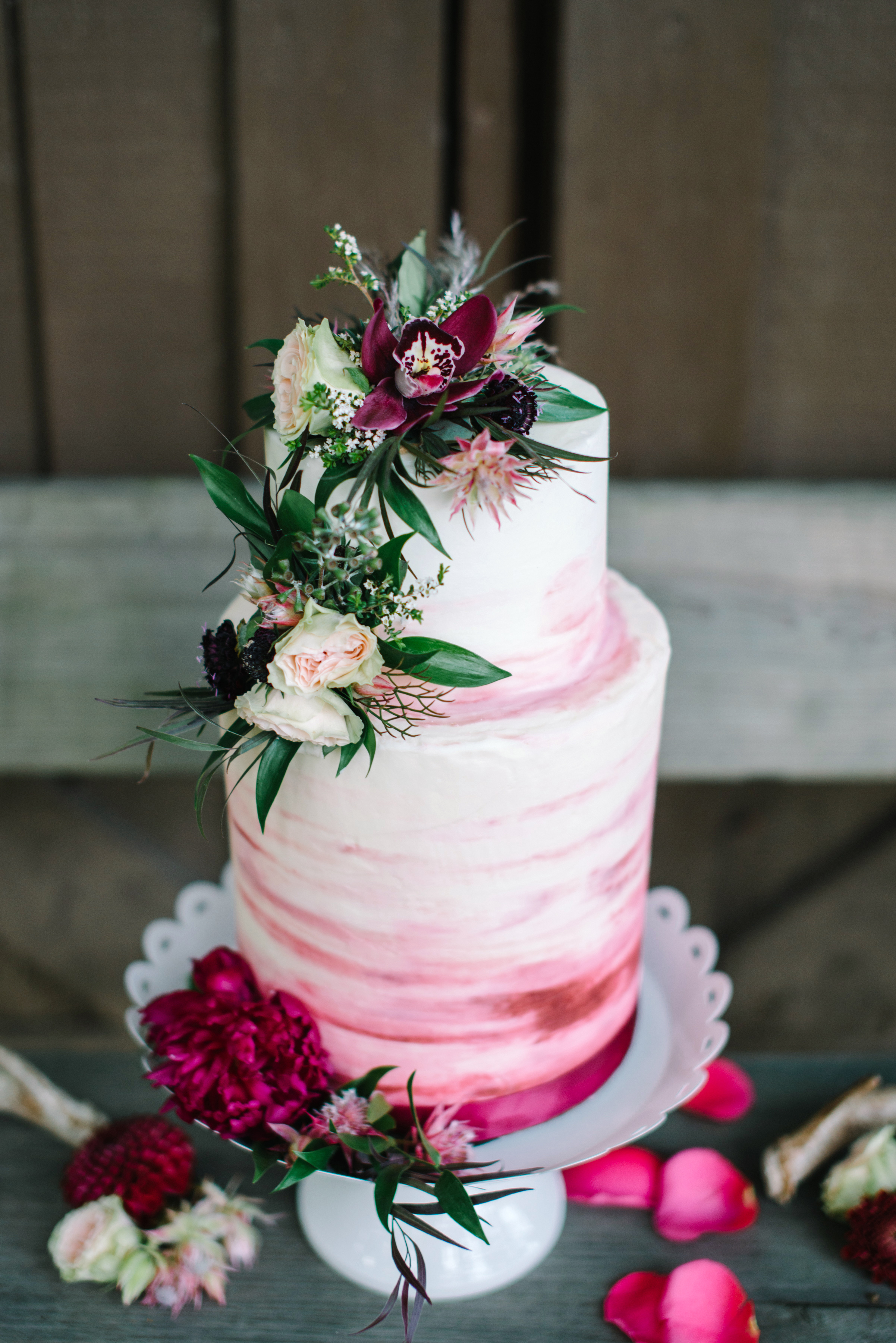 ombre cakes white woodland