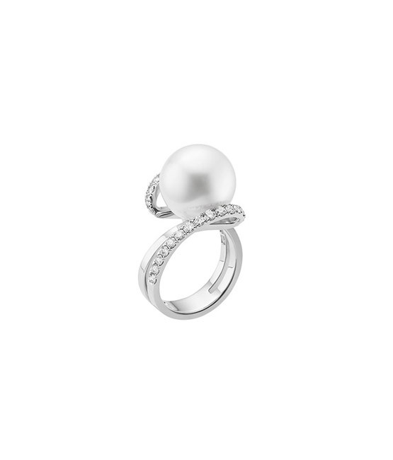 Mikimoto White South Sea Cultured Pearl and Diamond Ring