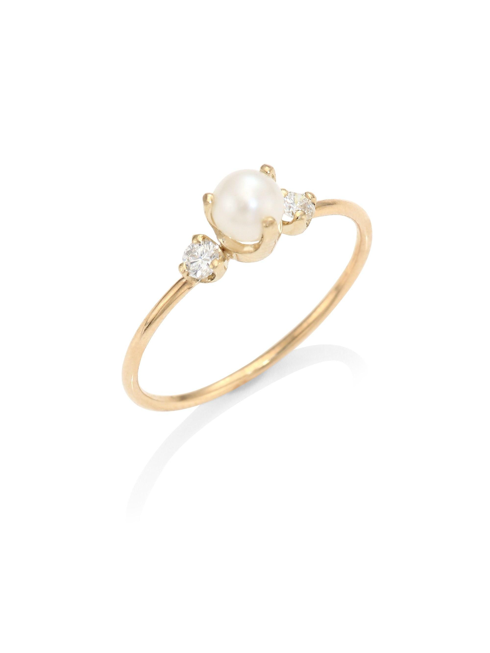 Zoe Chicco Diamond White Pearl Ring