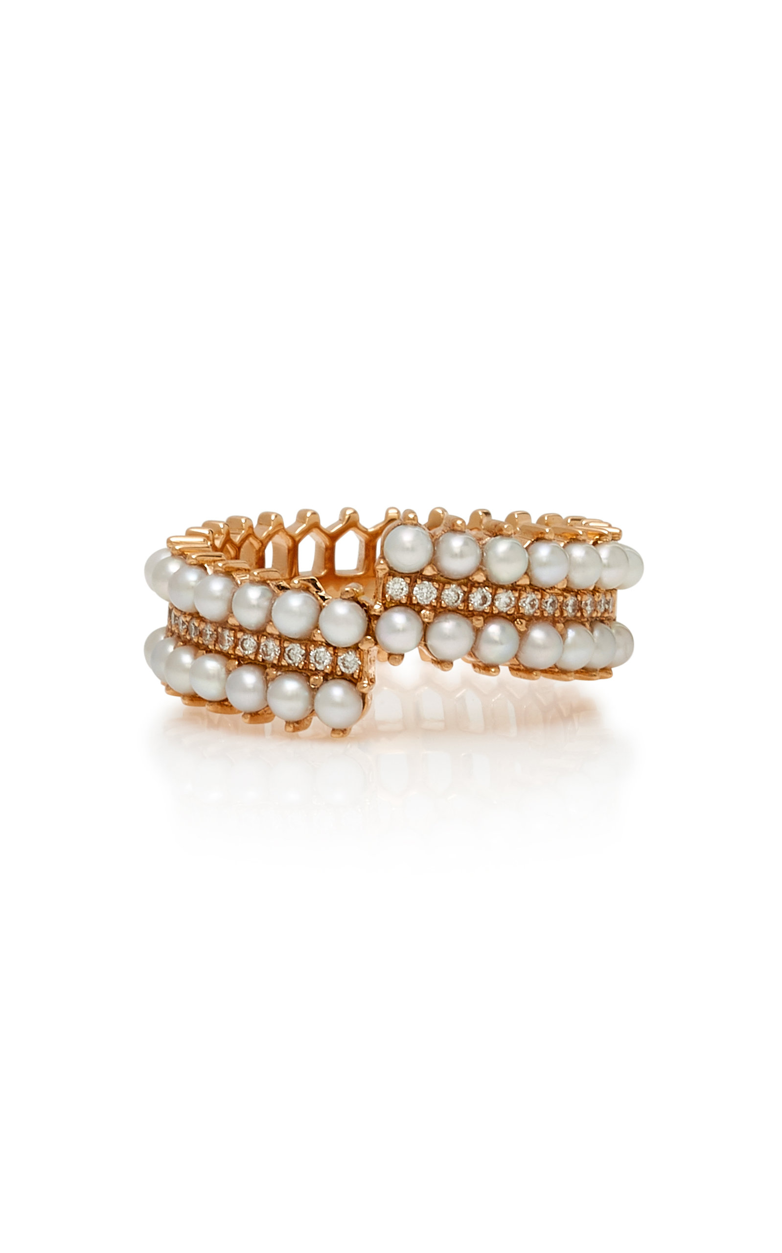 Nouvel Heritage Double Lace 18-Karat Rose Gold and Pearl Diamond Ring