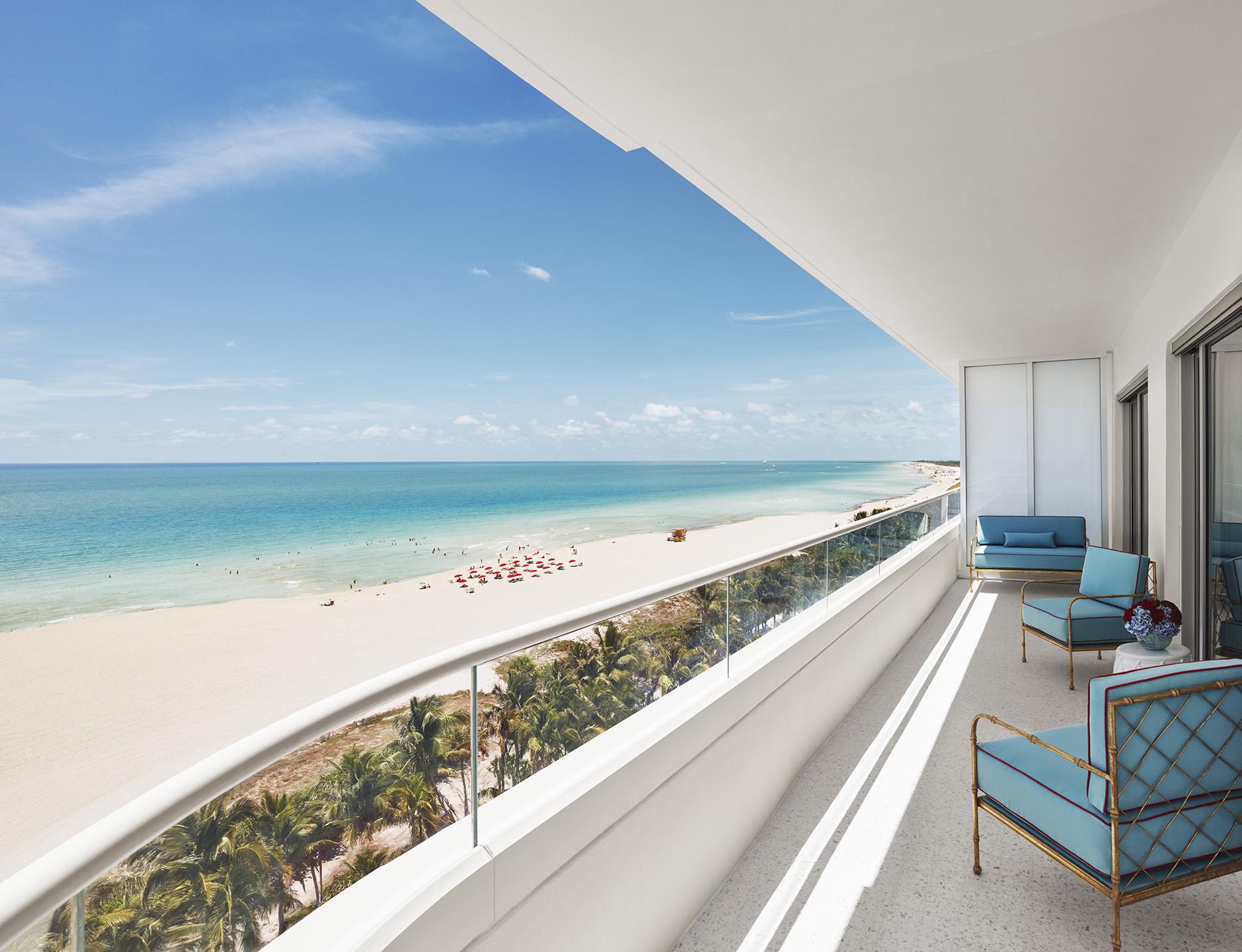 Faena Miami Hotel balcony overlooking the beach