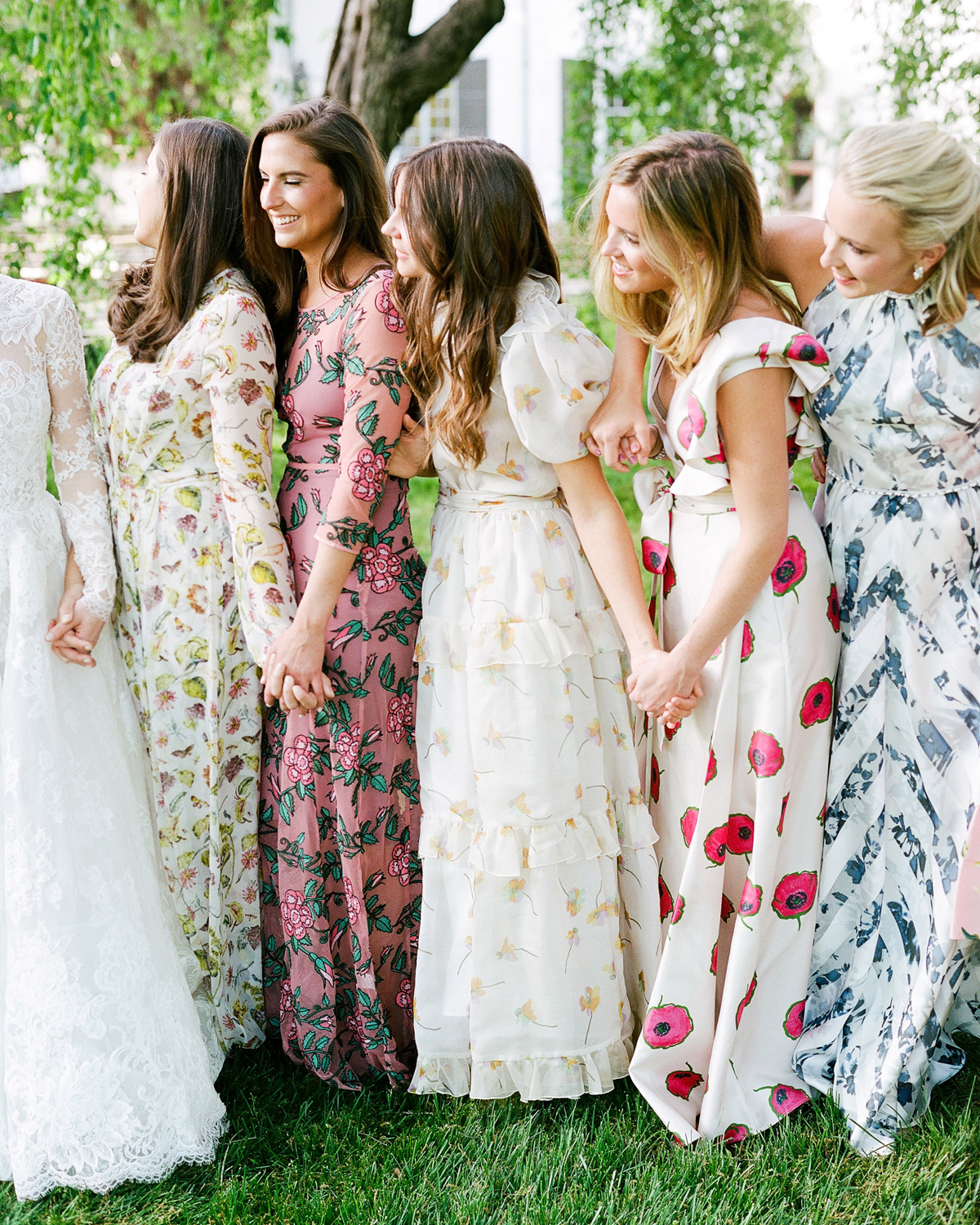 bridesmaids wearing floral print dresses