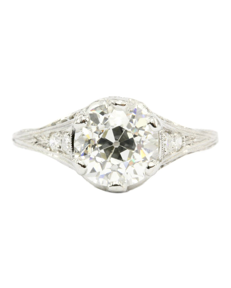 Art Deco Platinum European Cut Diamond Ring