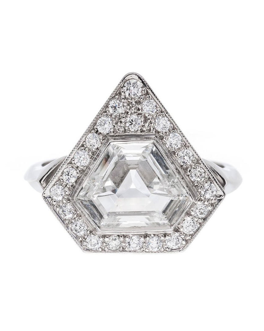 platinum bezel cornered triangular step cut diamond ring