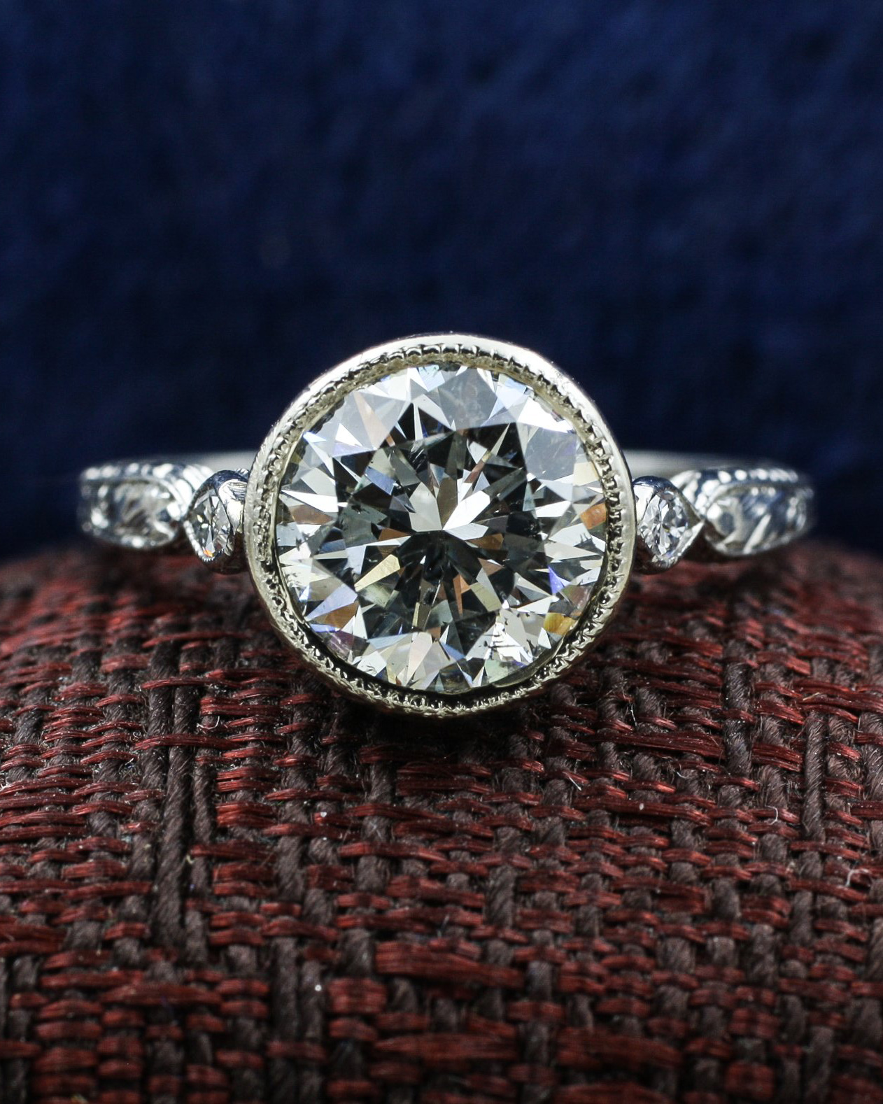 Vintage Diamond Platinum Buttercup Ring