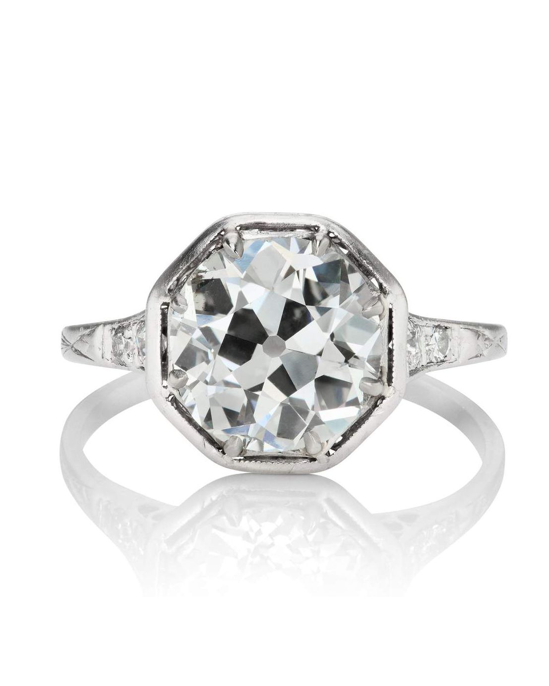 Octagon Diamond Engagement Ring