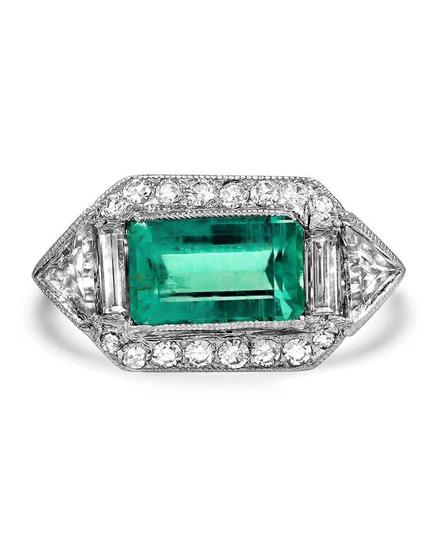art deco emerald single cut diamonds ring