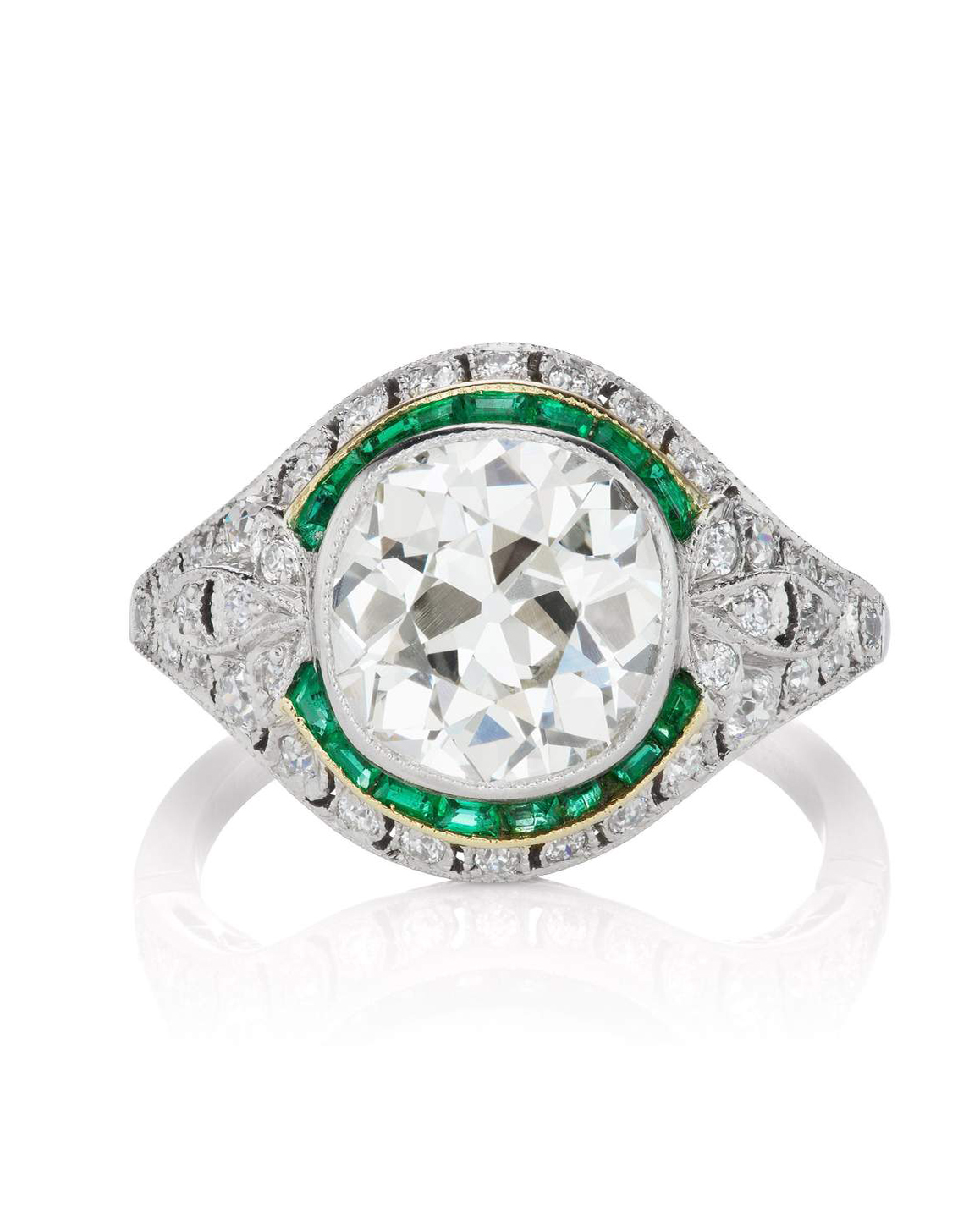 Bezel Set Diamond Emerald Halo Engagement Ring