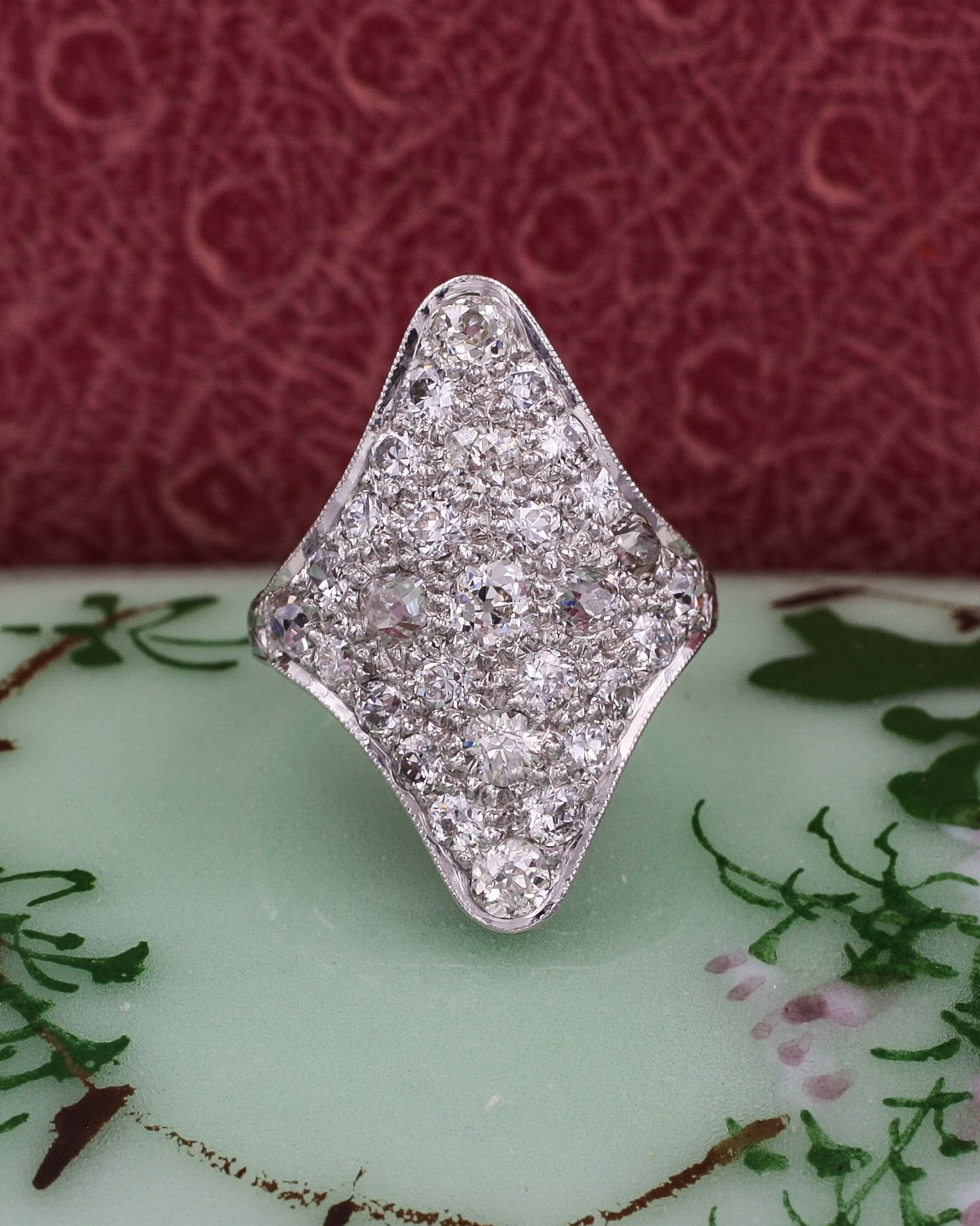 Old Mine Cut Diamond Pavé Shield Ring