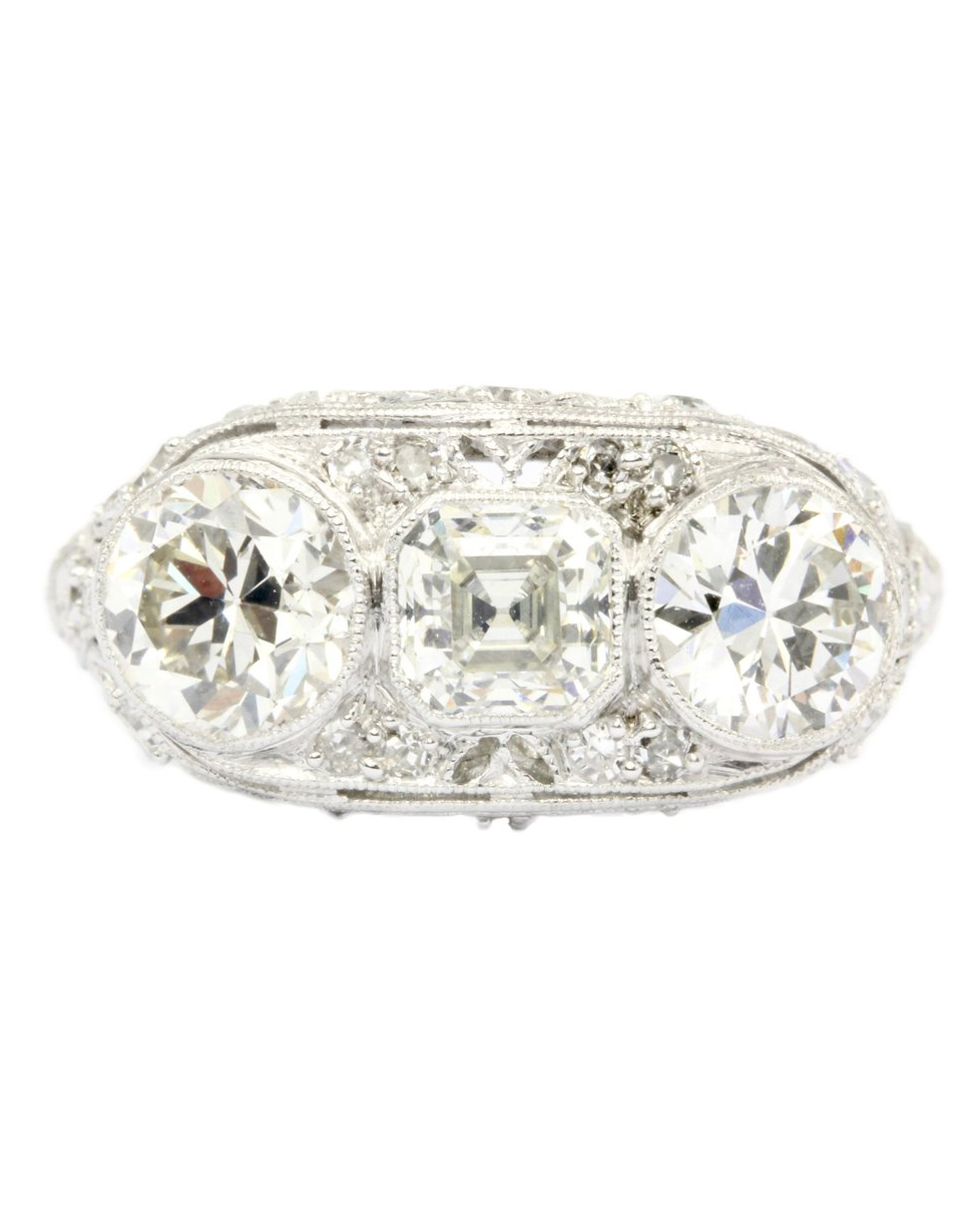 Art Deco Platinum Three-Stone Diamond Ring