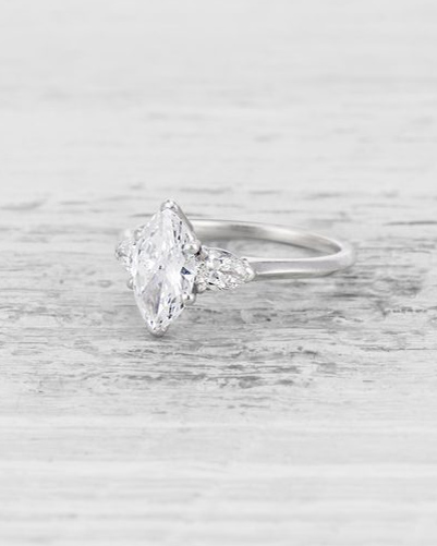 Marquise-Cut Diamond Vintage Engagement Ring