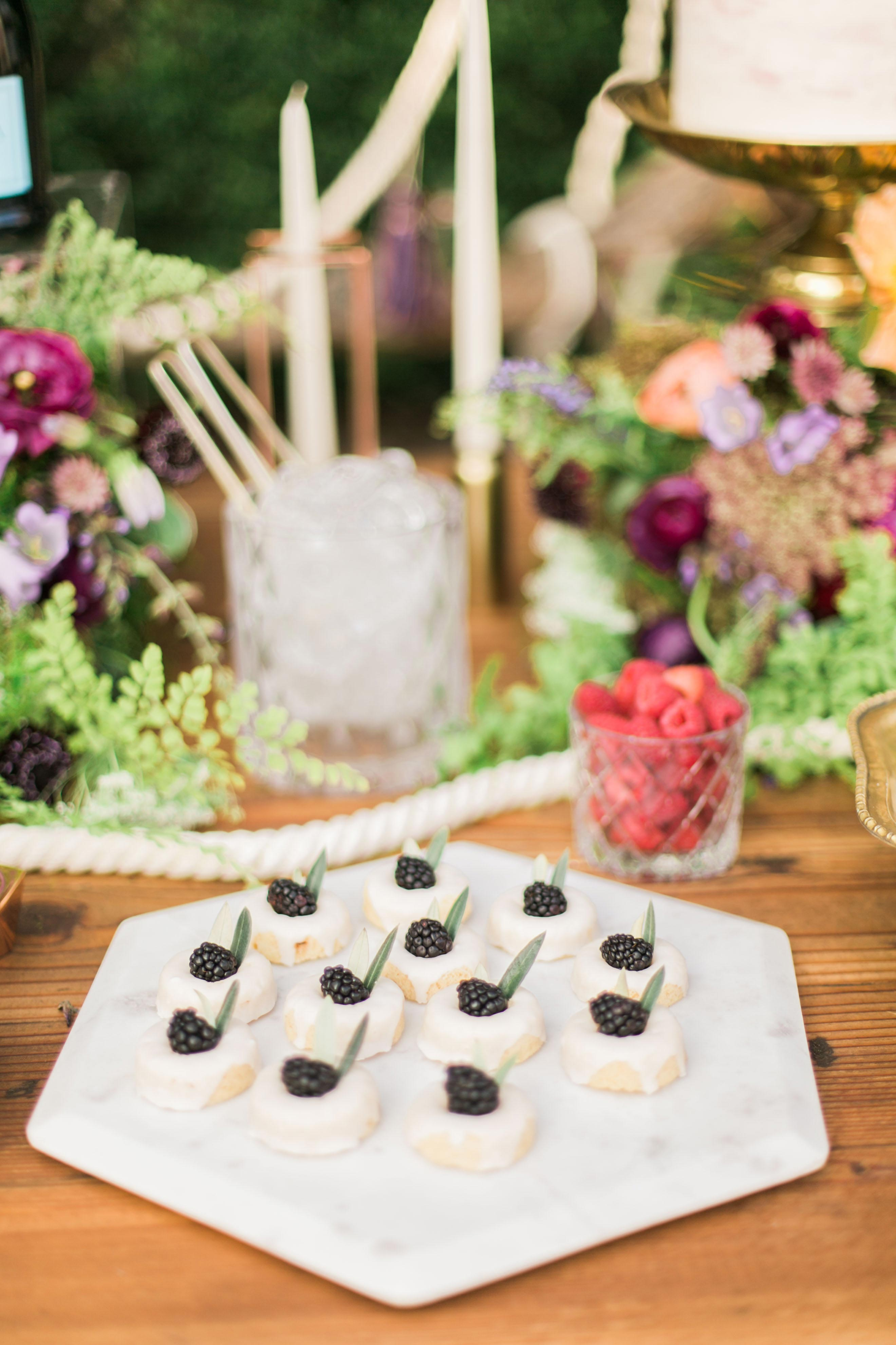 boho chic bachelorette party  blackberry cookies