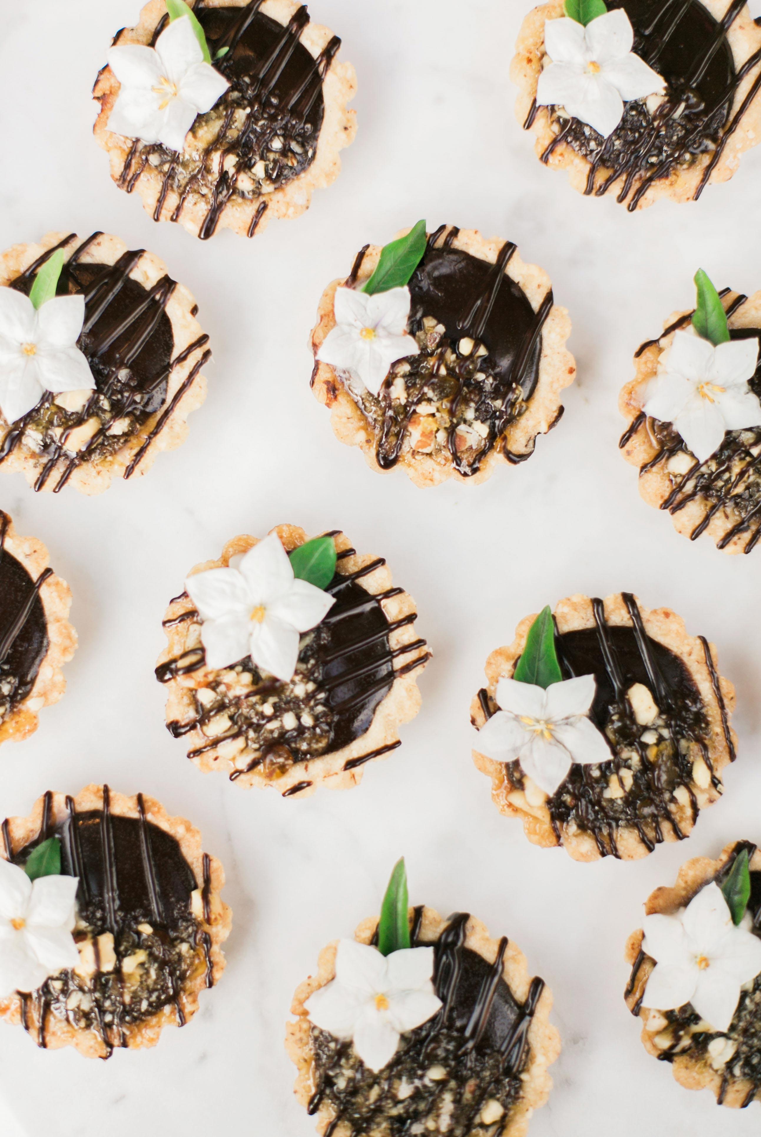 boho chic bachelorette chocolate tarts