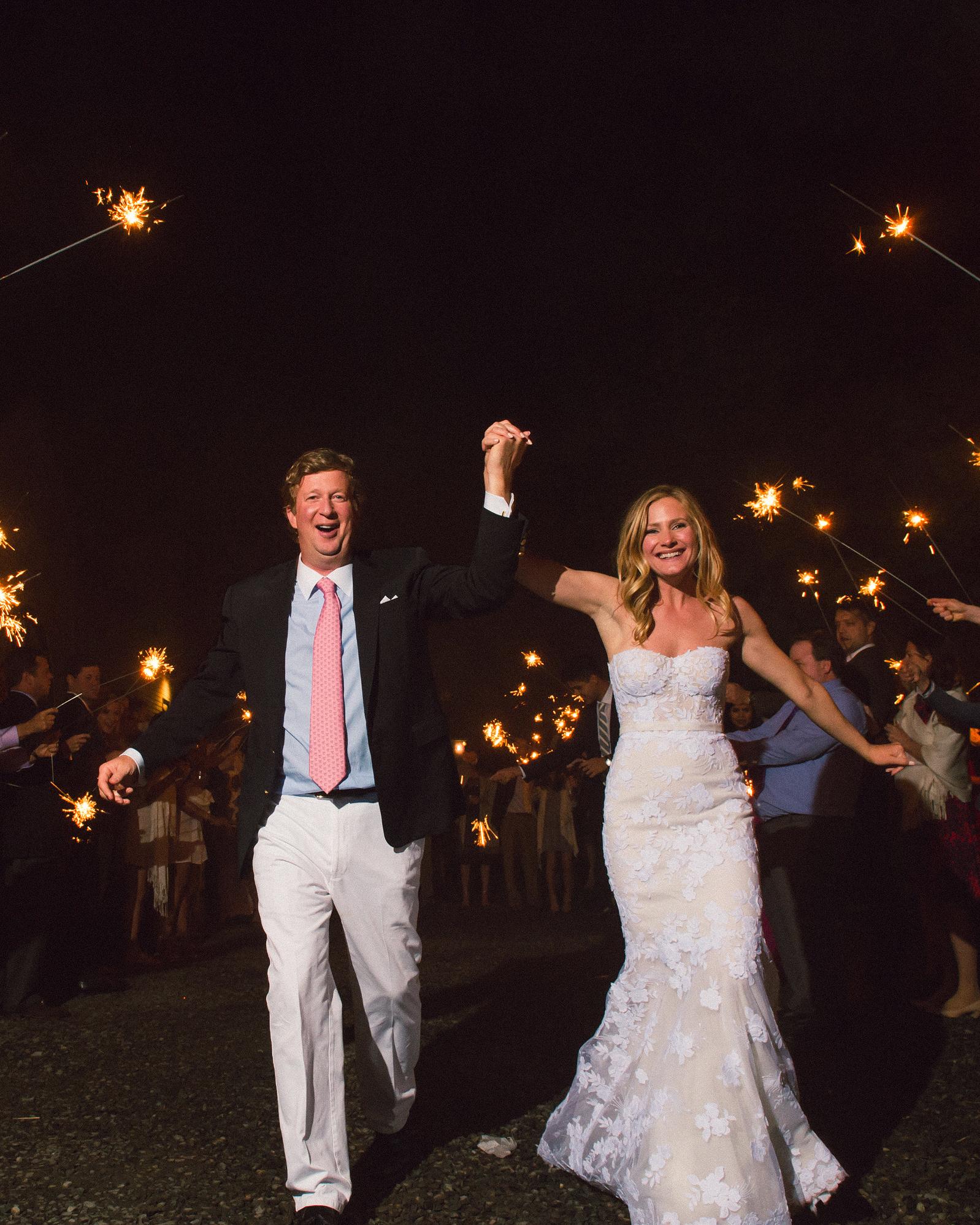 katy andrew wedding sparklers