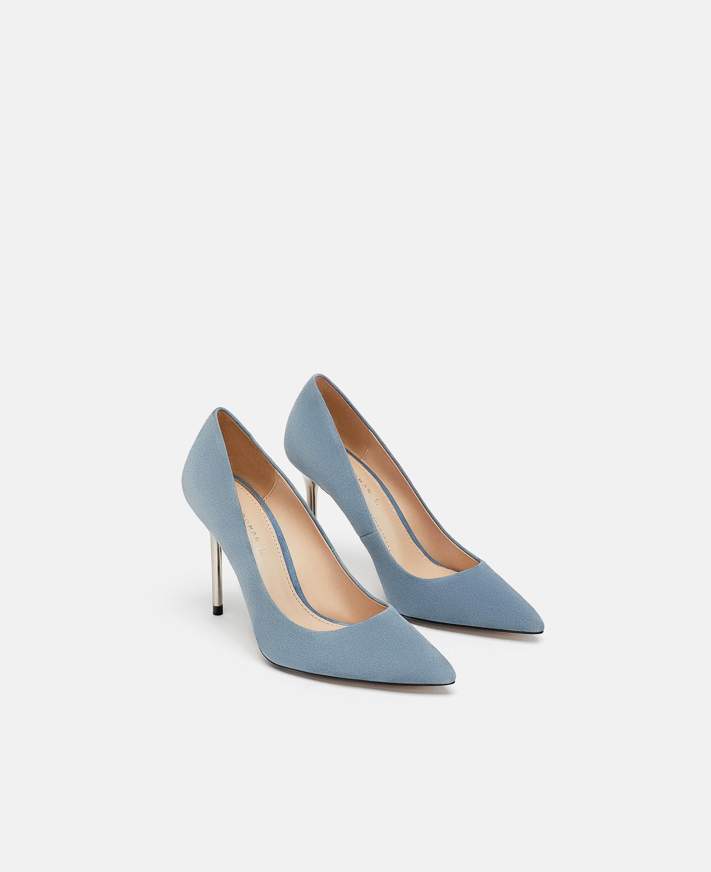 Zara Metallic Leather High Heel Pumps