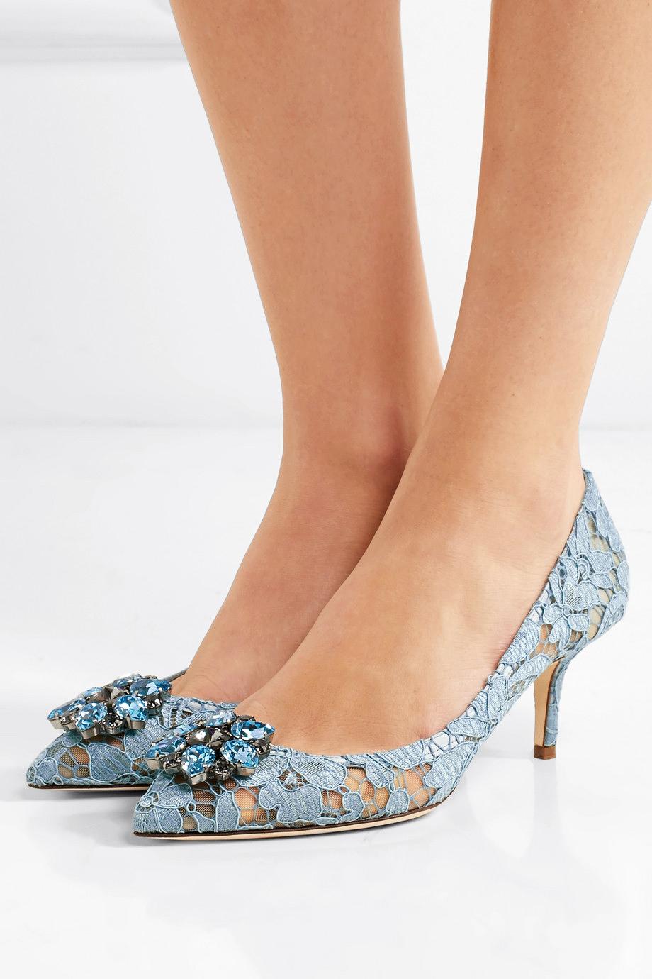 Dolce & Gabbana Crystal-Embellished Corded Lace Pumps