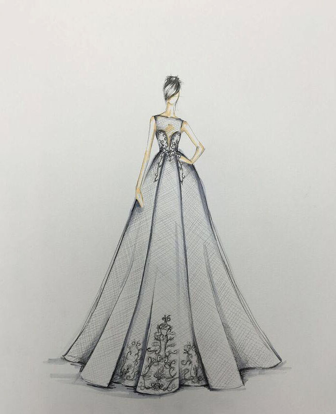 berta fall 2017 exclusive wedding dress sketch