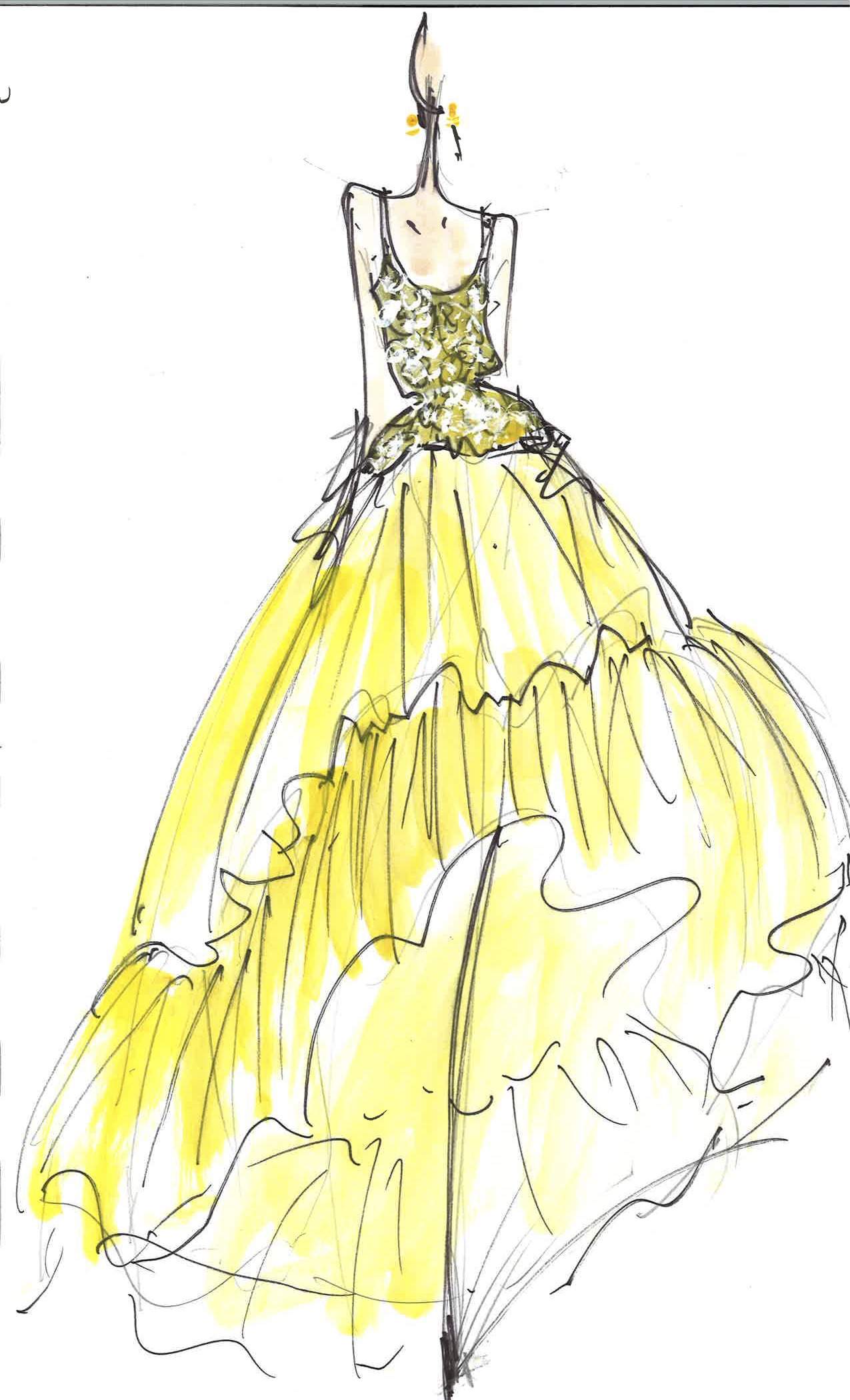 Naeem Khan Fall 2017 Exclusive Wedding Dress Sketch