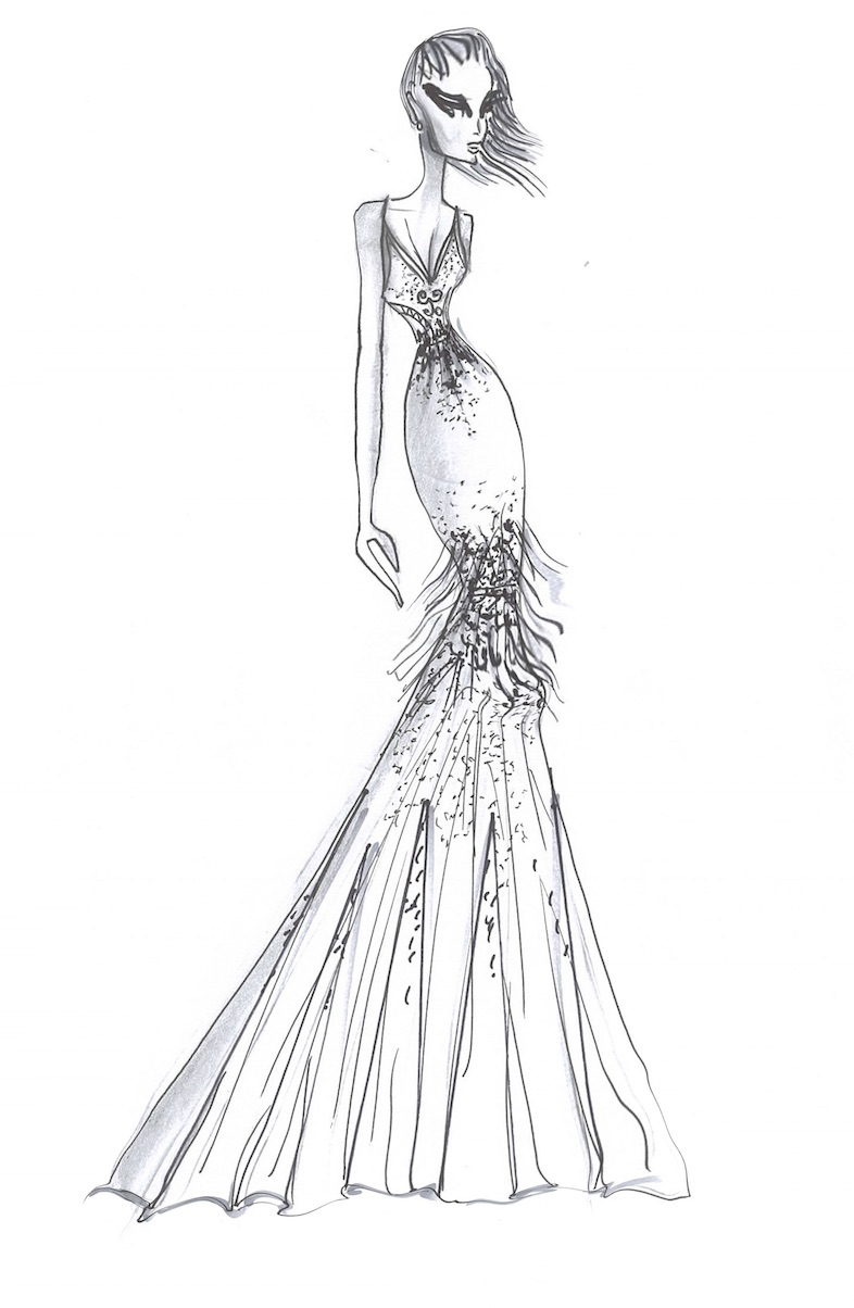 Yaniv Persy Fall 2017 Exclusive Wedding Dress Sketch