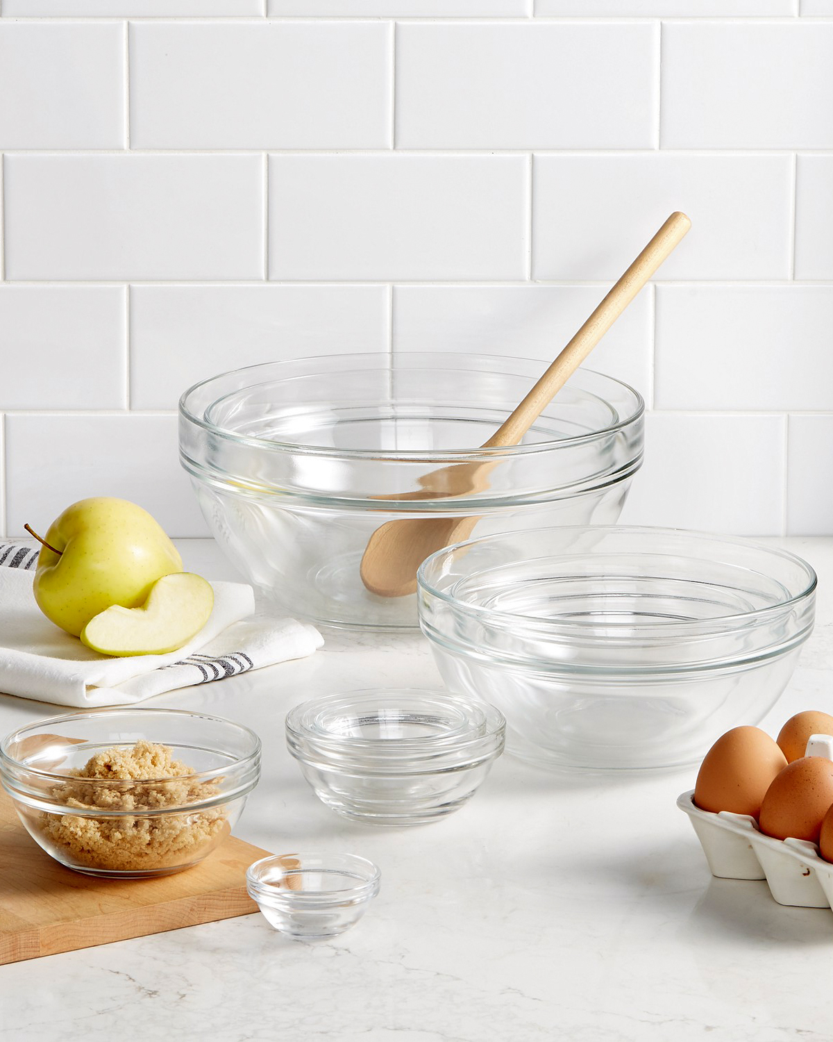 glass mixing bowl set with baking ingredients