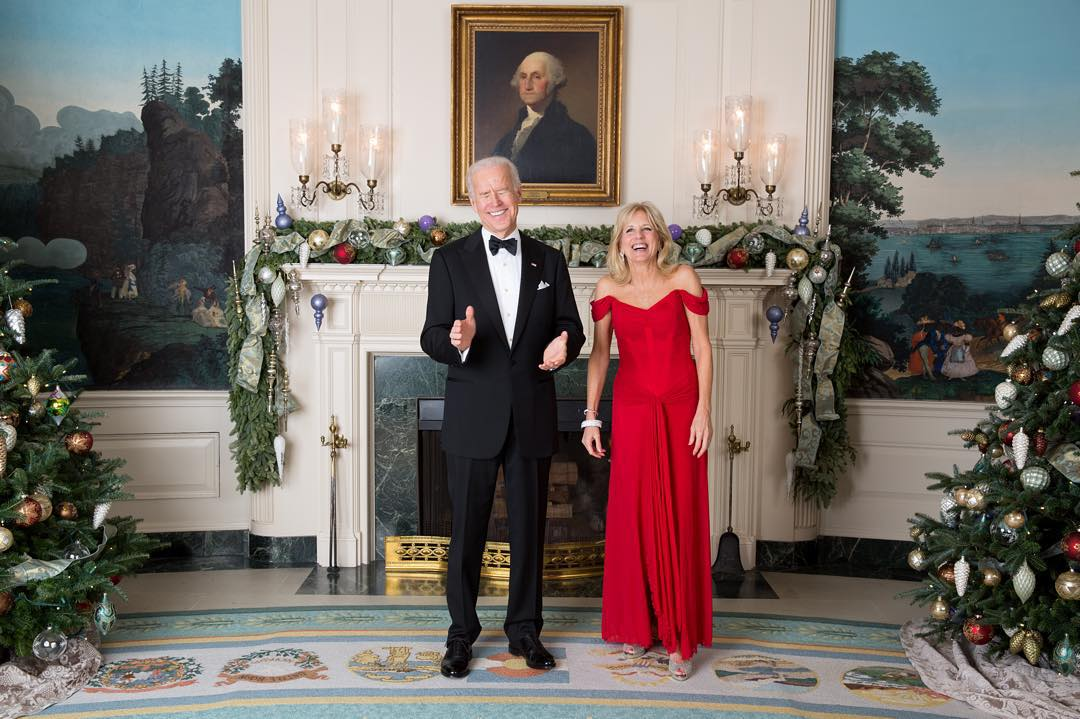 Joe and Jill Biden Posing for Holiday Photograph