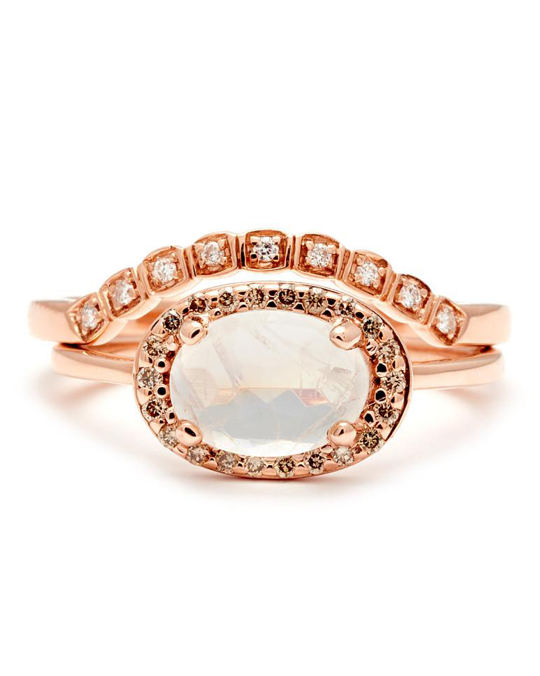 rainbow moonstone champagne diamond rose gold ring