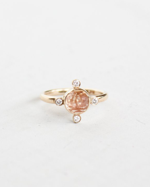 rose cut sunstone unique engagement ring