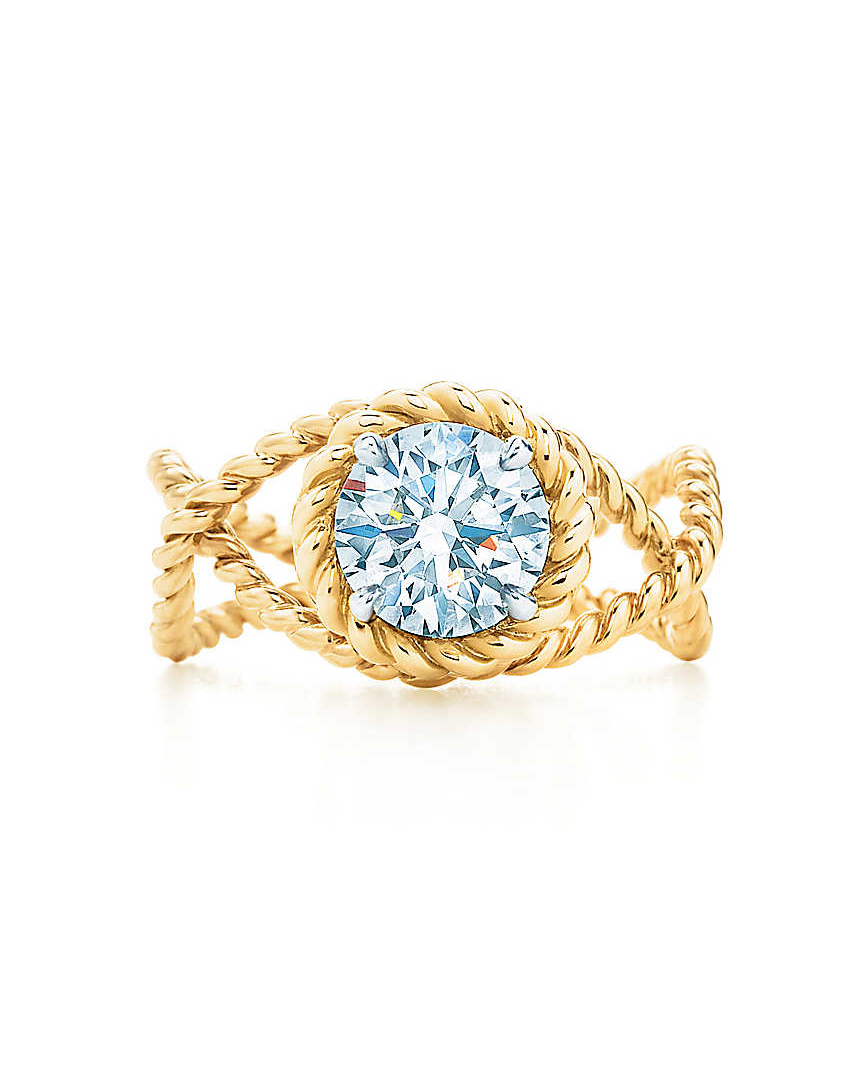 gold rope diamond center engagement ring