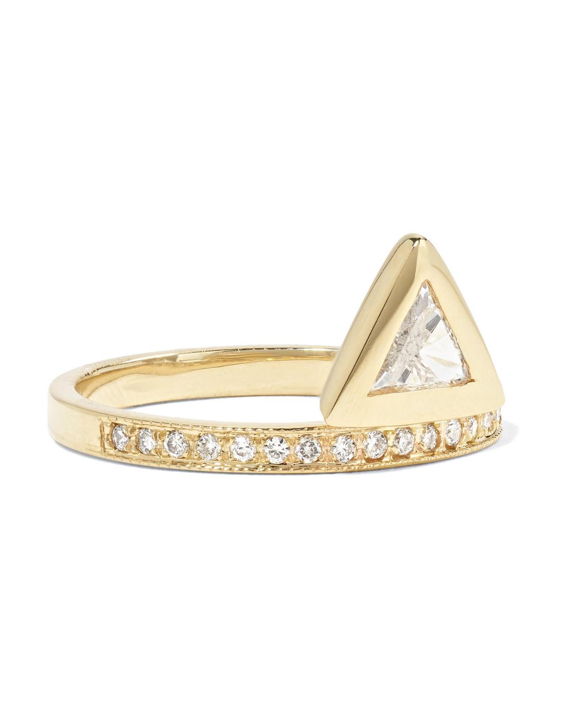 bezel-set trillion-cut diamond engagement ring