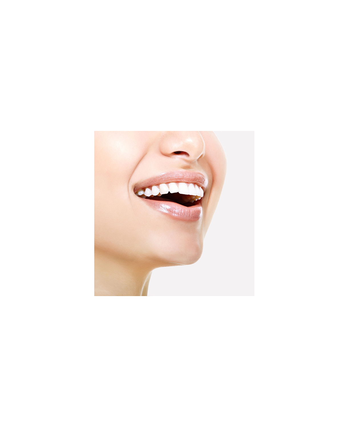 mouth with shiny white teeth