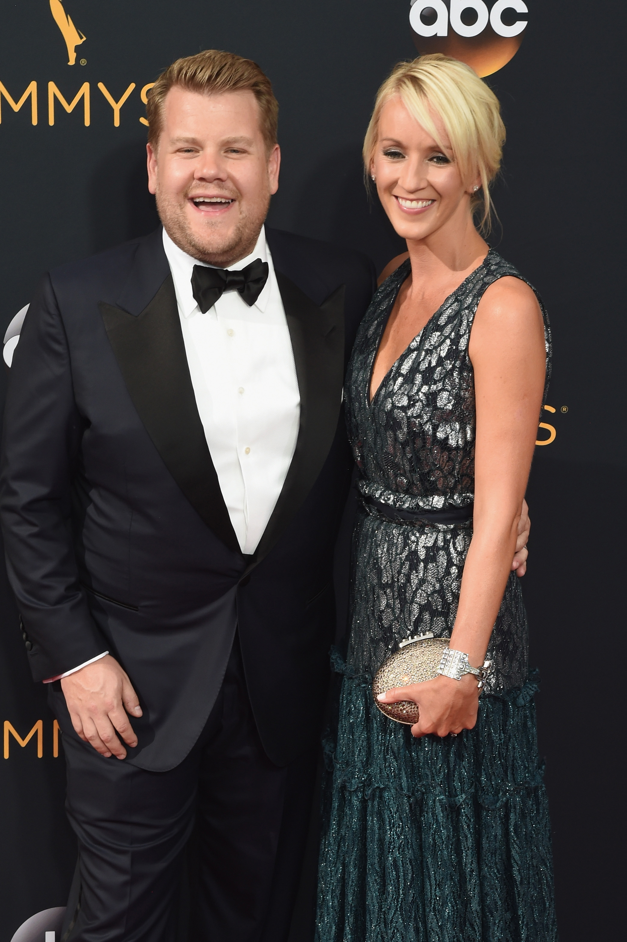 James Corden and Julie Carey