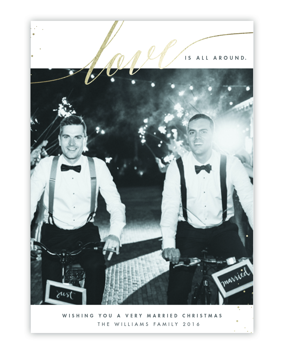 newlywed holiday card married christmas