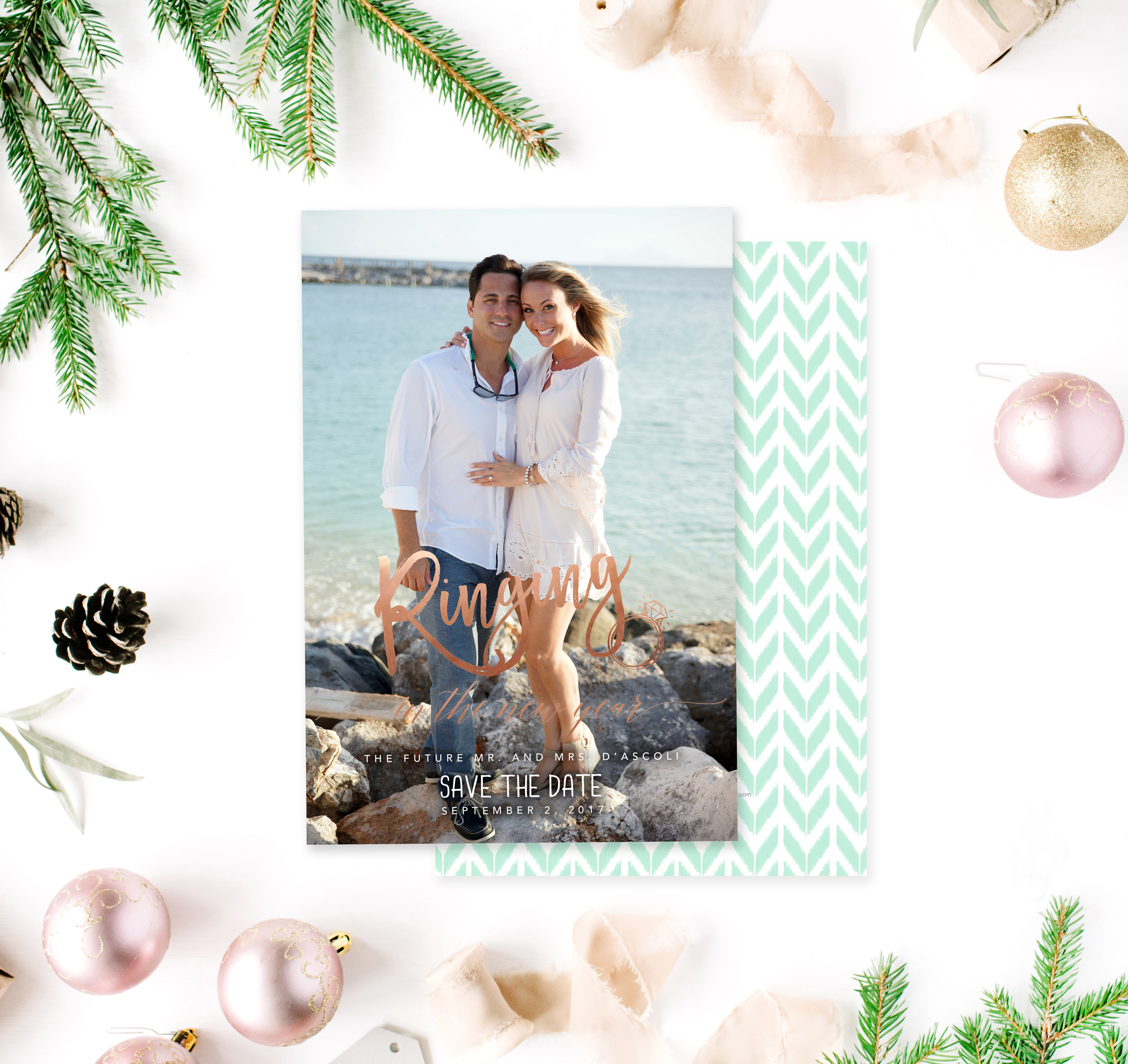 newlywed holiday card ringing in new year