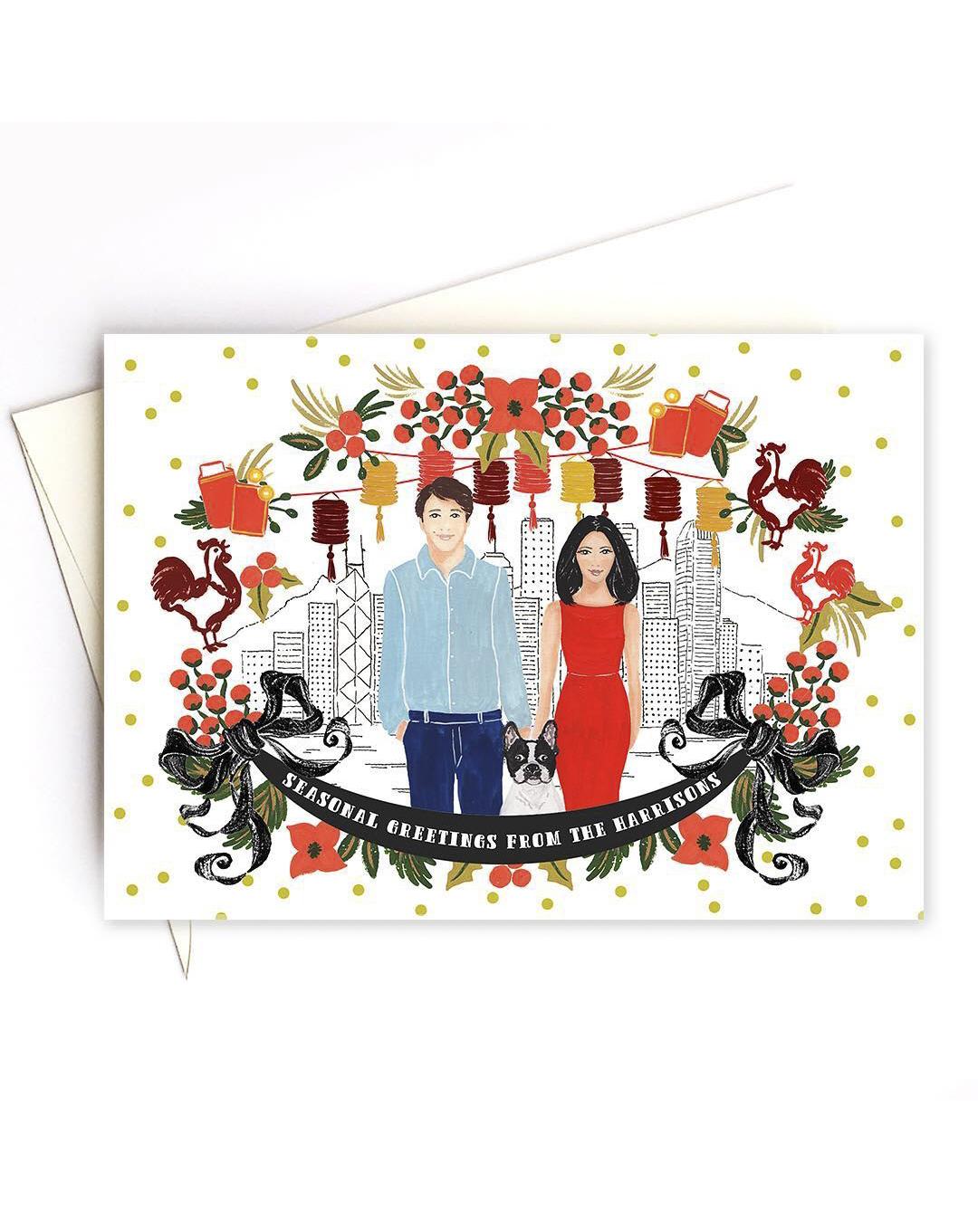 newlywed holiday card drawing of couple