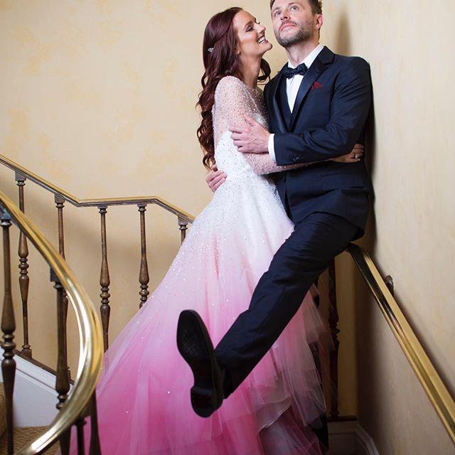 Lydia Hearst and Chris Hardwick on their wedding day
