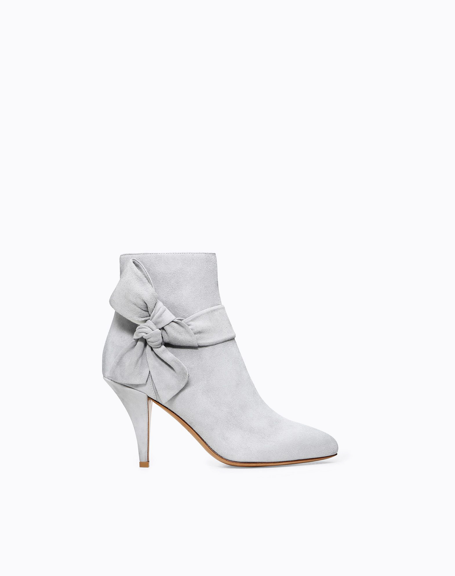 gray bridal booties valentino suede side bow
