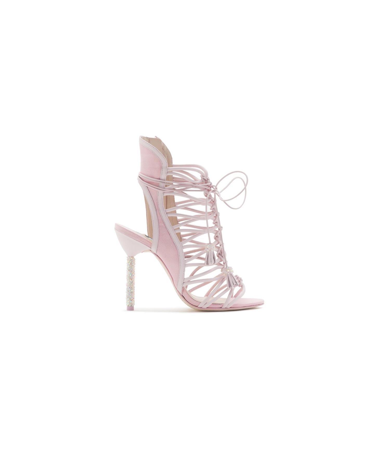 pink bridal booties sophia webster lacey cyrstal