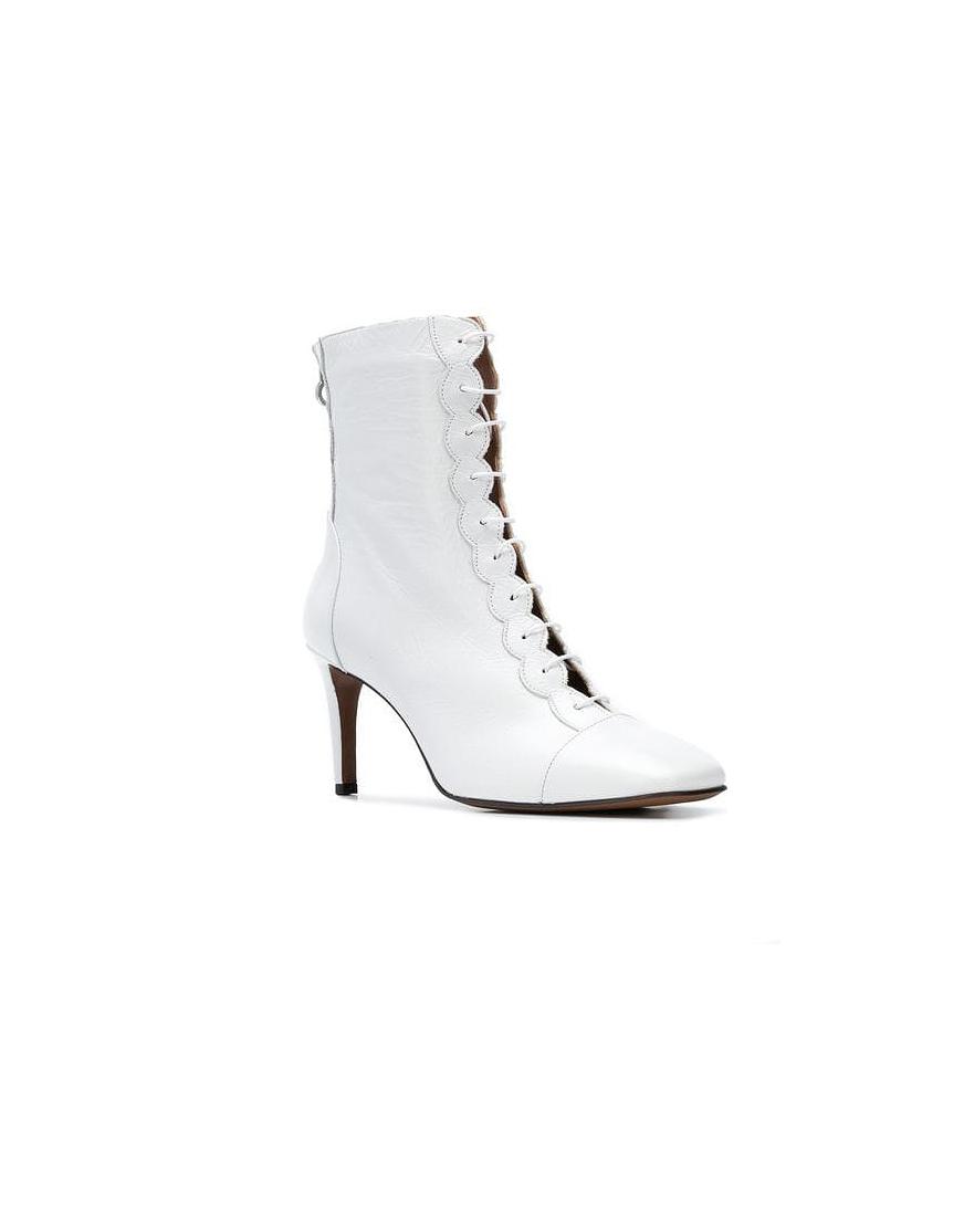 white bridal booties lautre chose front zip heel