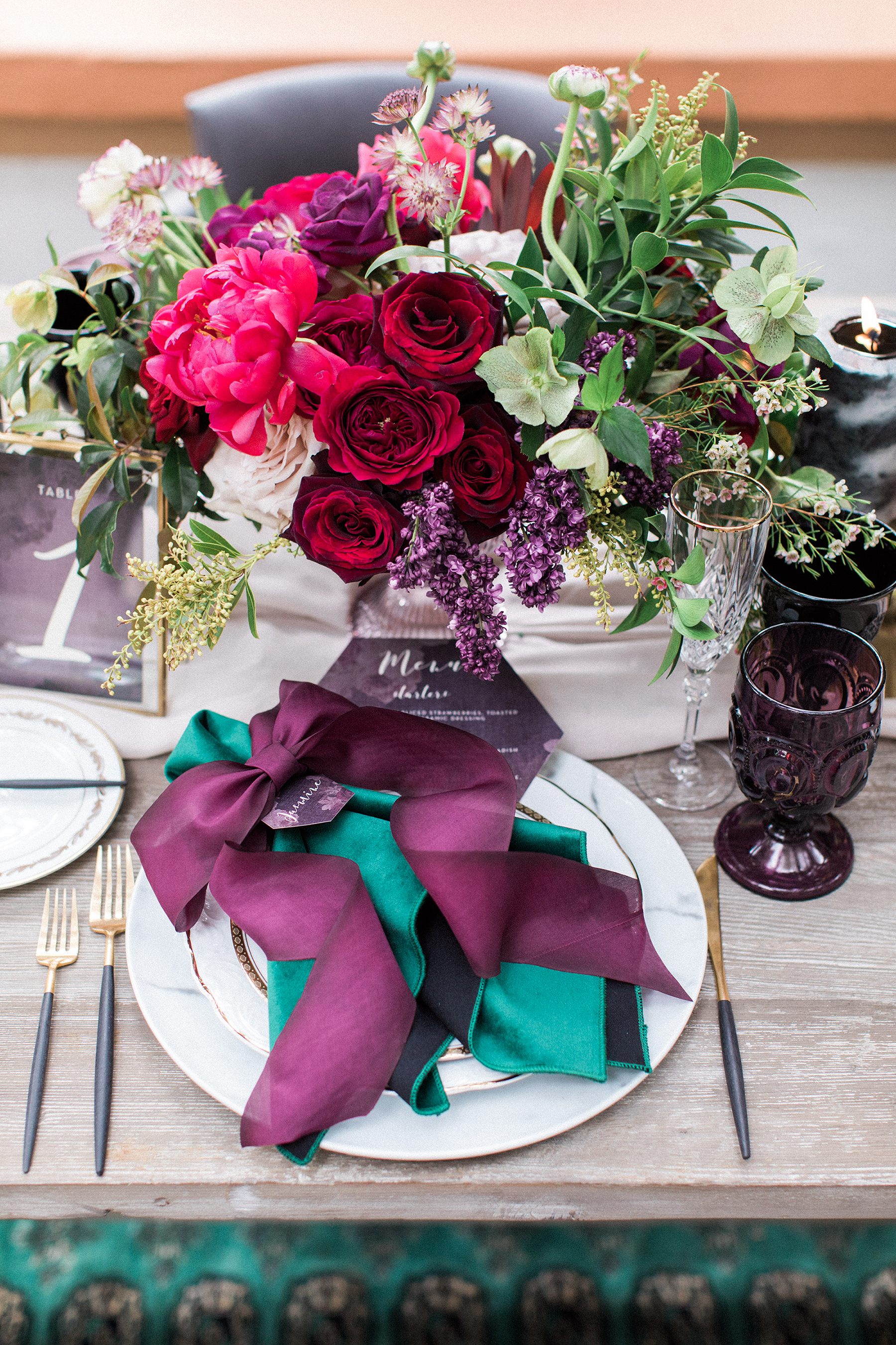 jewel-toned centerpiece with magenta garden roses