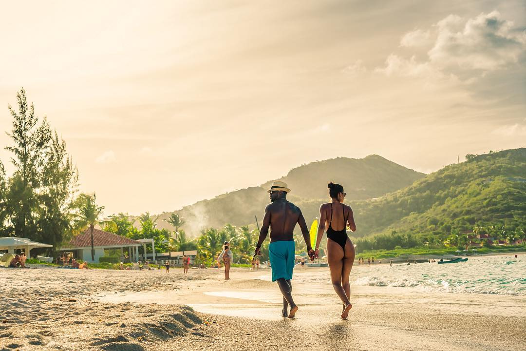 Kevin and Eniko Hart on Honeymoon in St. Barts