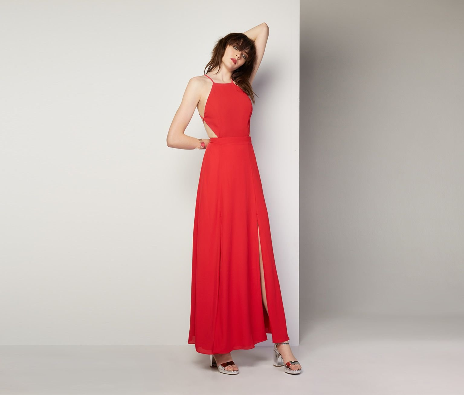red high neck backless maxi dress