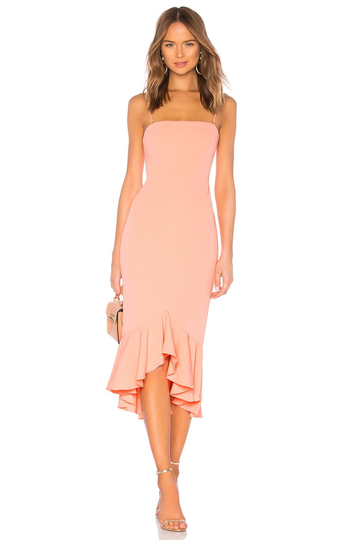thin strap coral midi dress