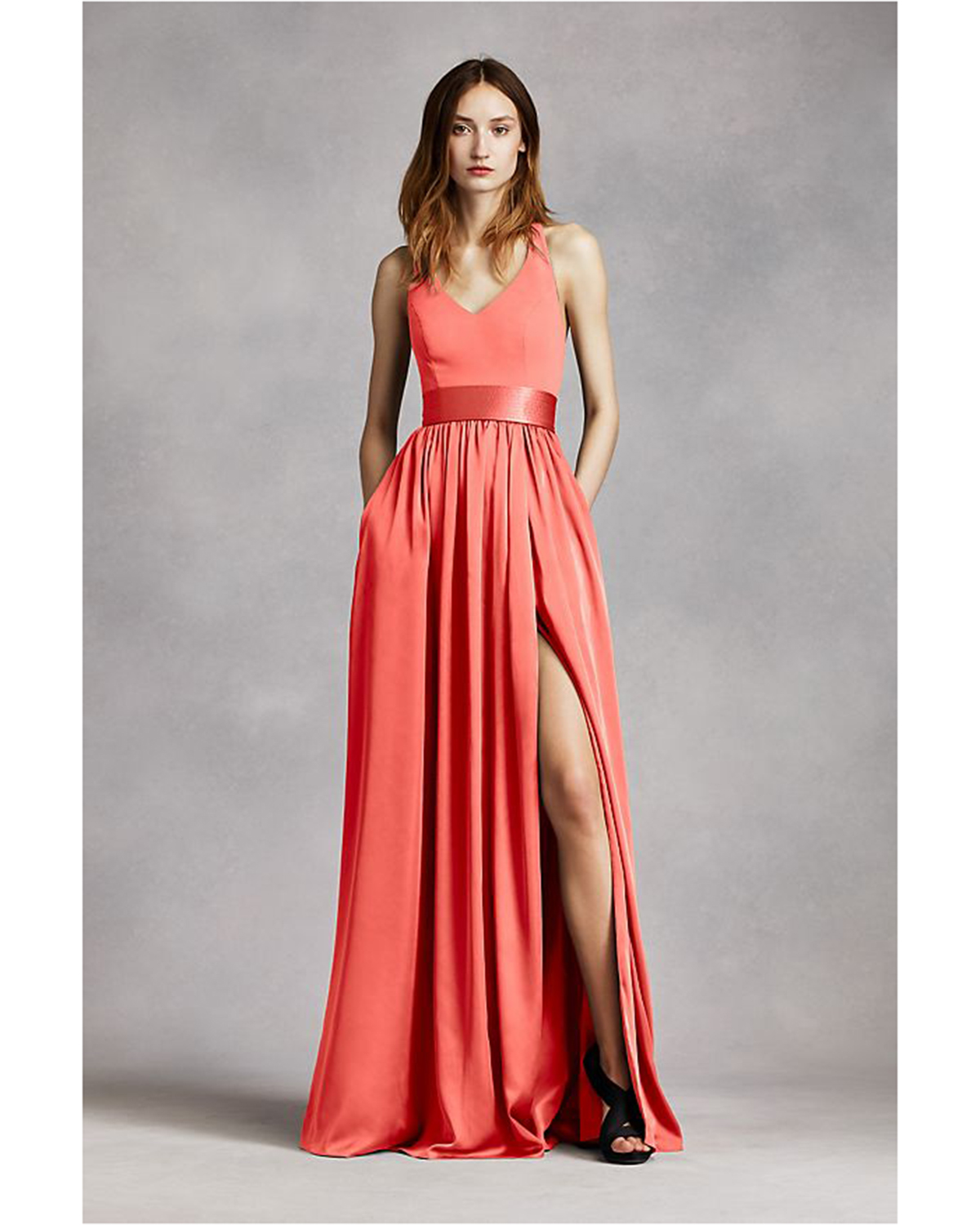 coral maxi dress with halter neck