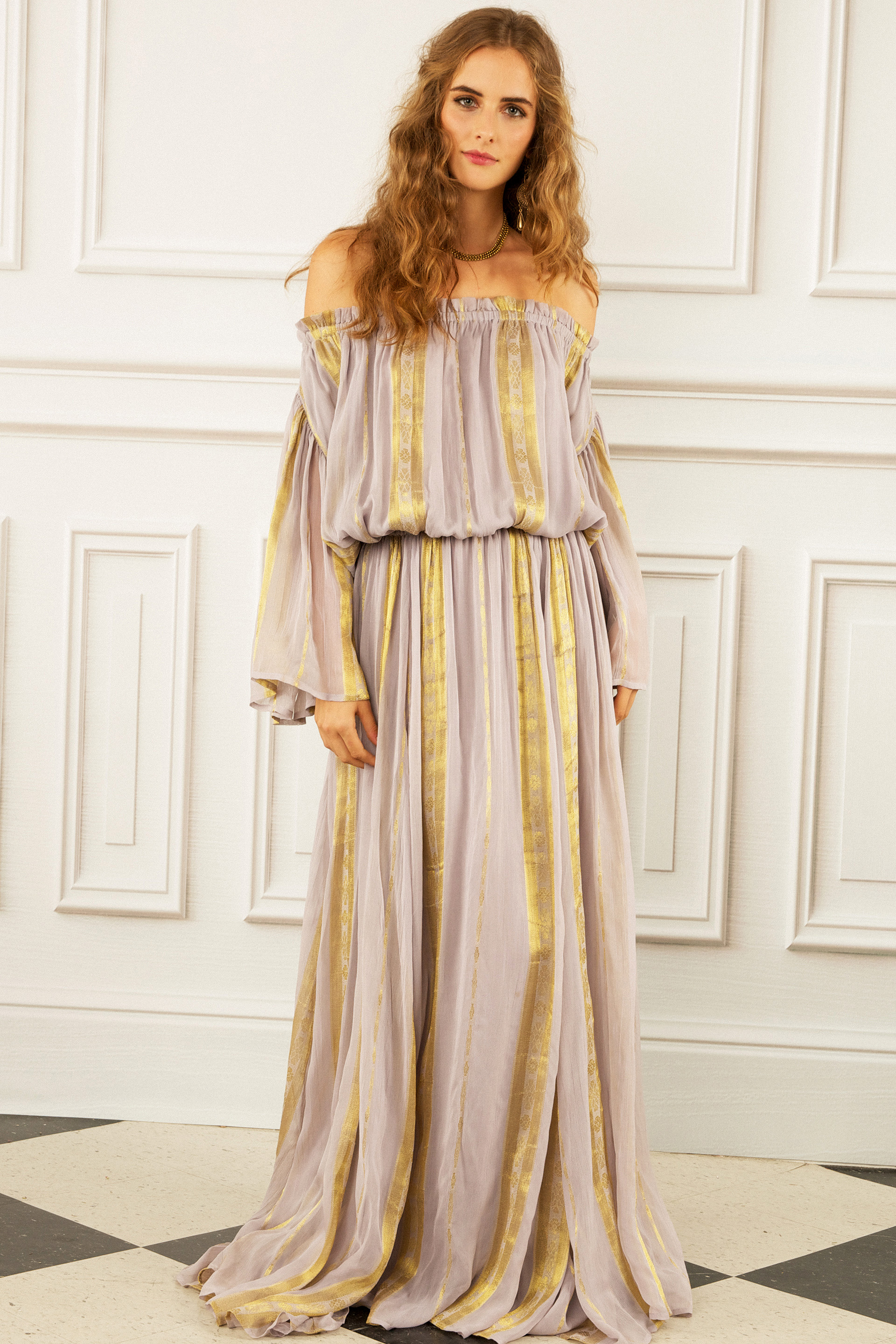 maria korovilas wedding dress spring 2017 off the shoulder, stripes